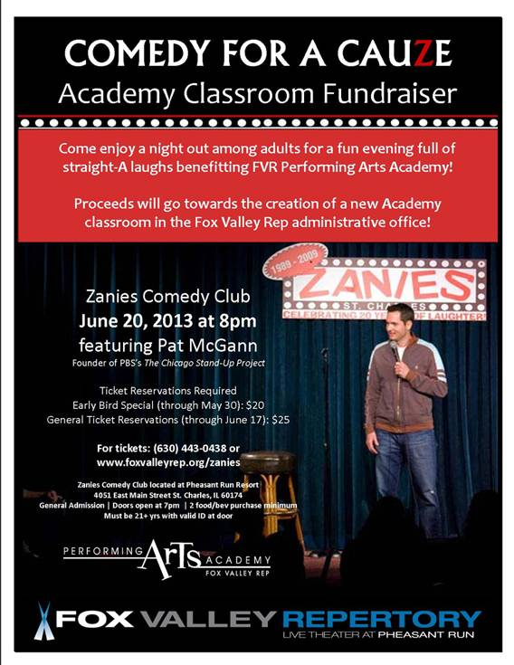 100% of the proceeds from tickets purchased through Fox Valley Rep will go towards the Academy Classroom Fundraiser