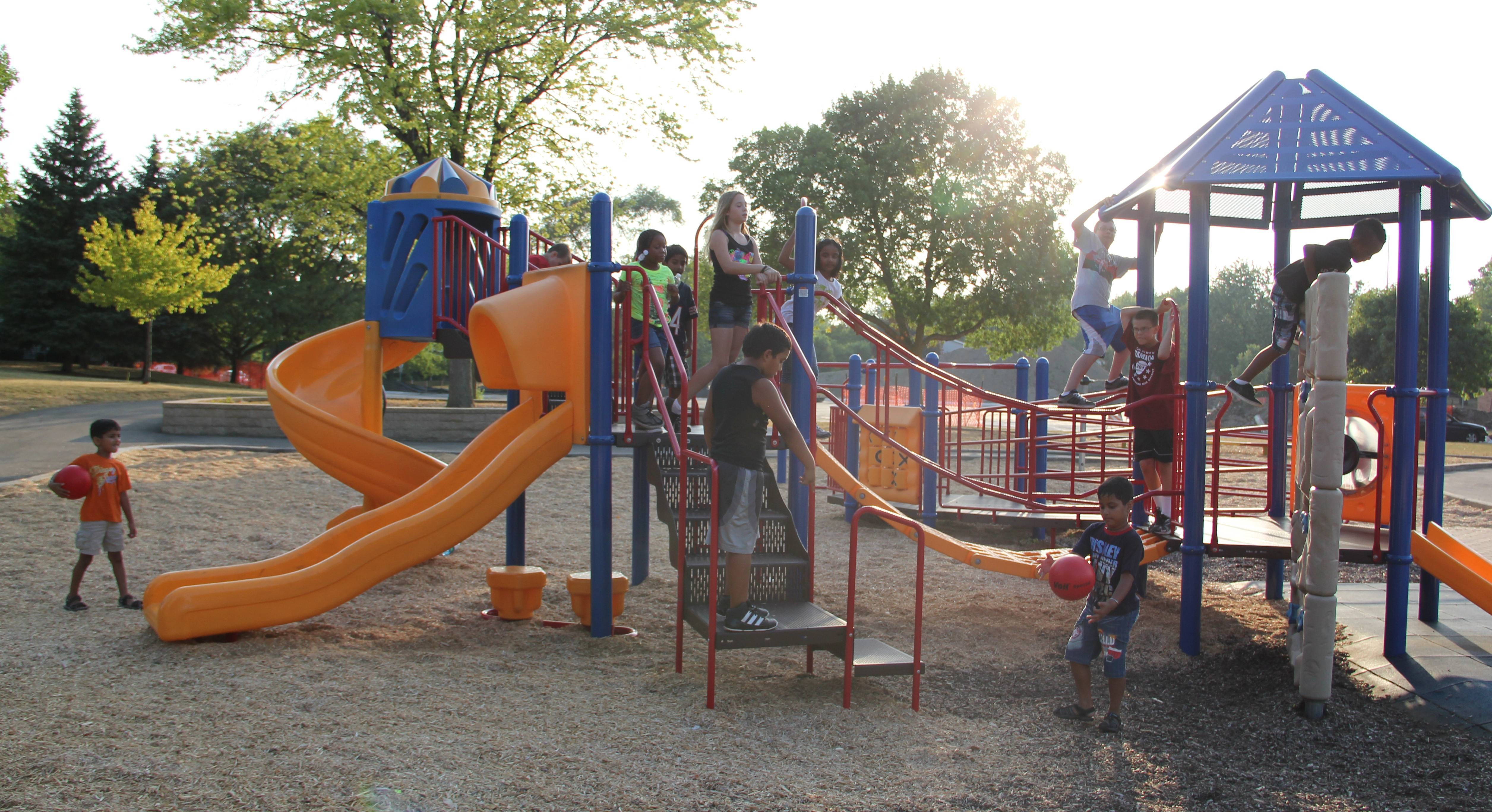 Children play at Timbercrest Park during LATER.