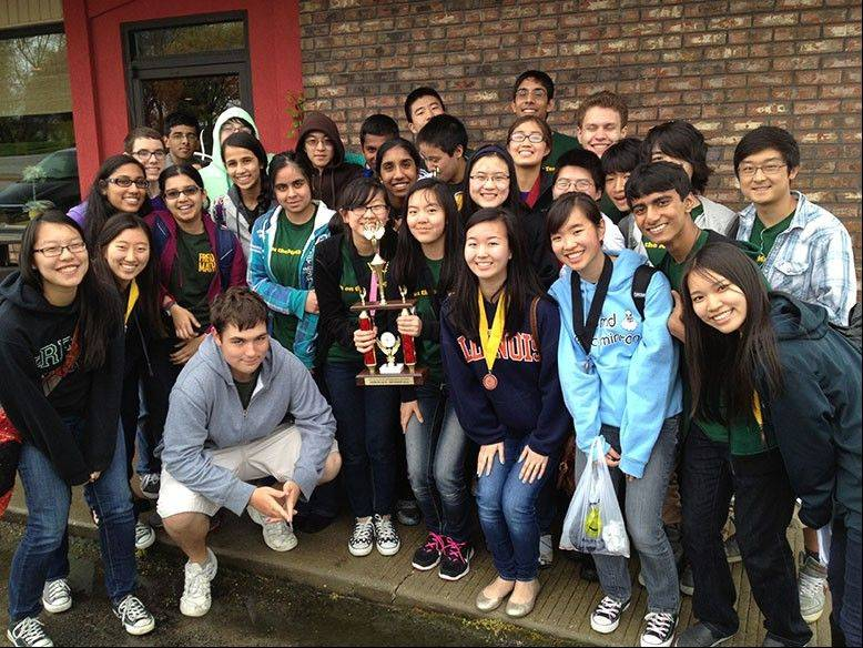 The Fremd Math Team poses after six of its members took first in Illinois in an online competition.