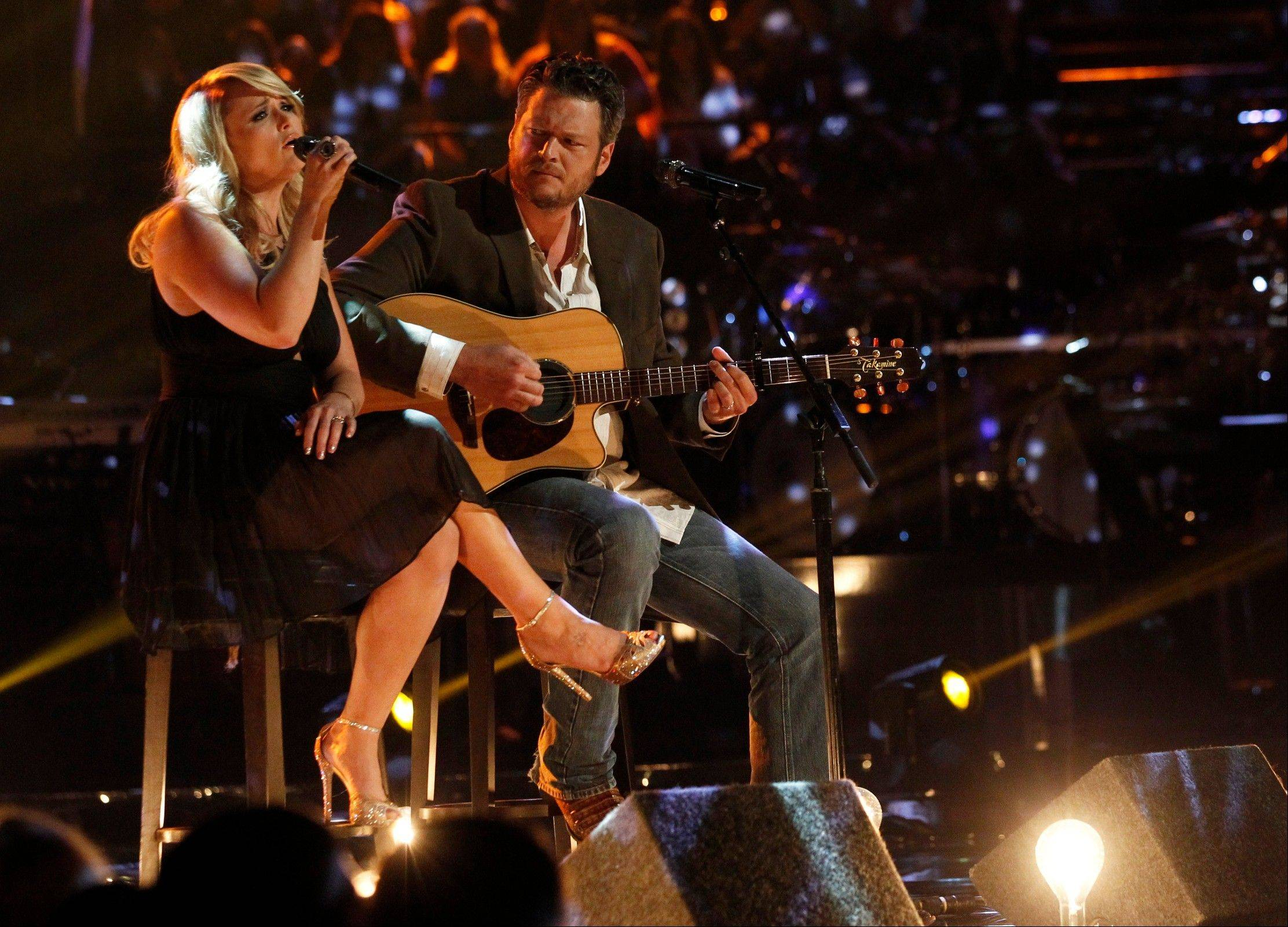 Miranda Lambert and Blake Shelton paid tribute to those in Oklahoma affected by the recent tornadoes by performing an acoustic version of the hit �Over You� during a broadcast of �The Voice.�
