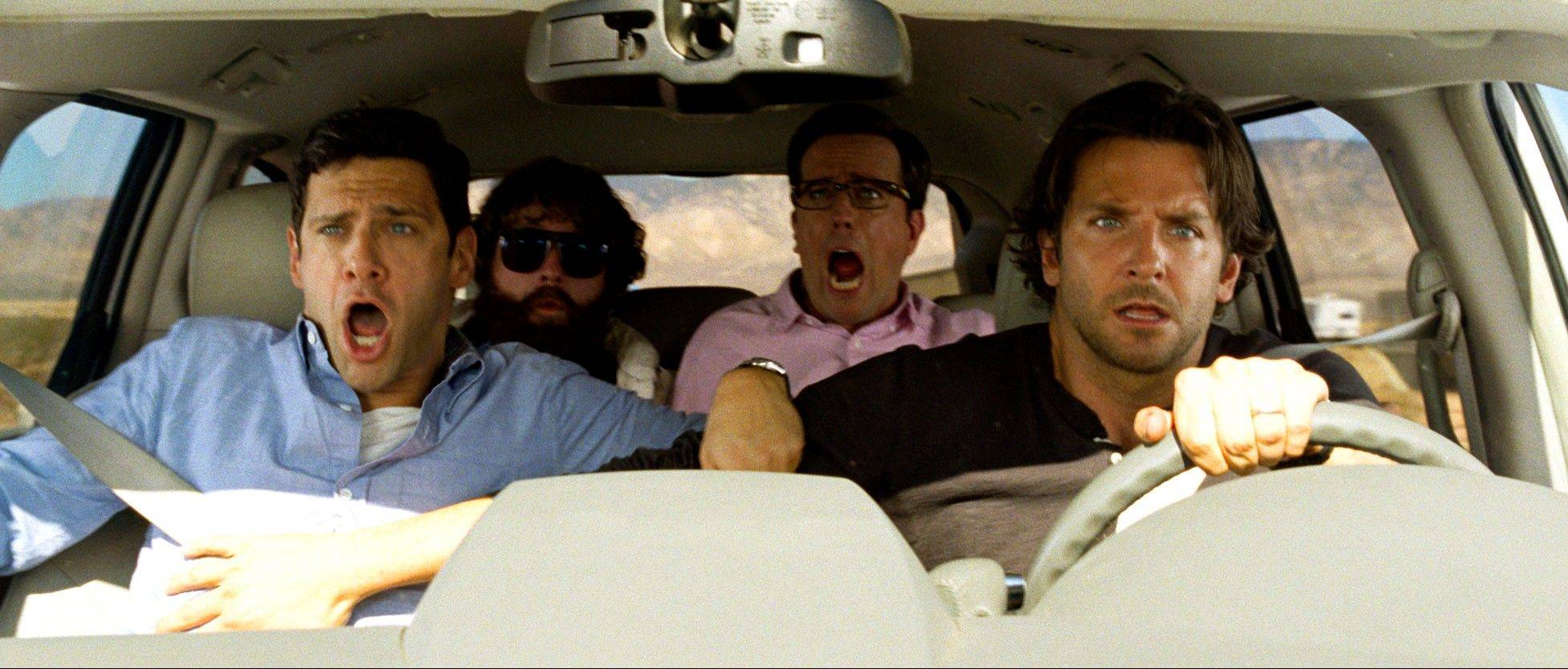 "Doug (Justin Bartha), left, screeches as Alan (Zach Galifianakis), Stu (Ed Helms) and Phil (Bradley Cooper) prepare for a disaster in the comedy ""The Hangover Part III."""