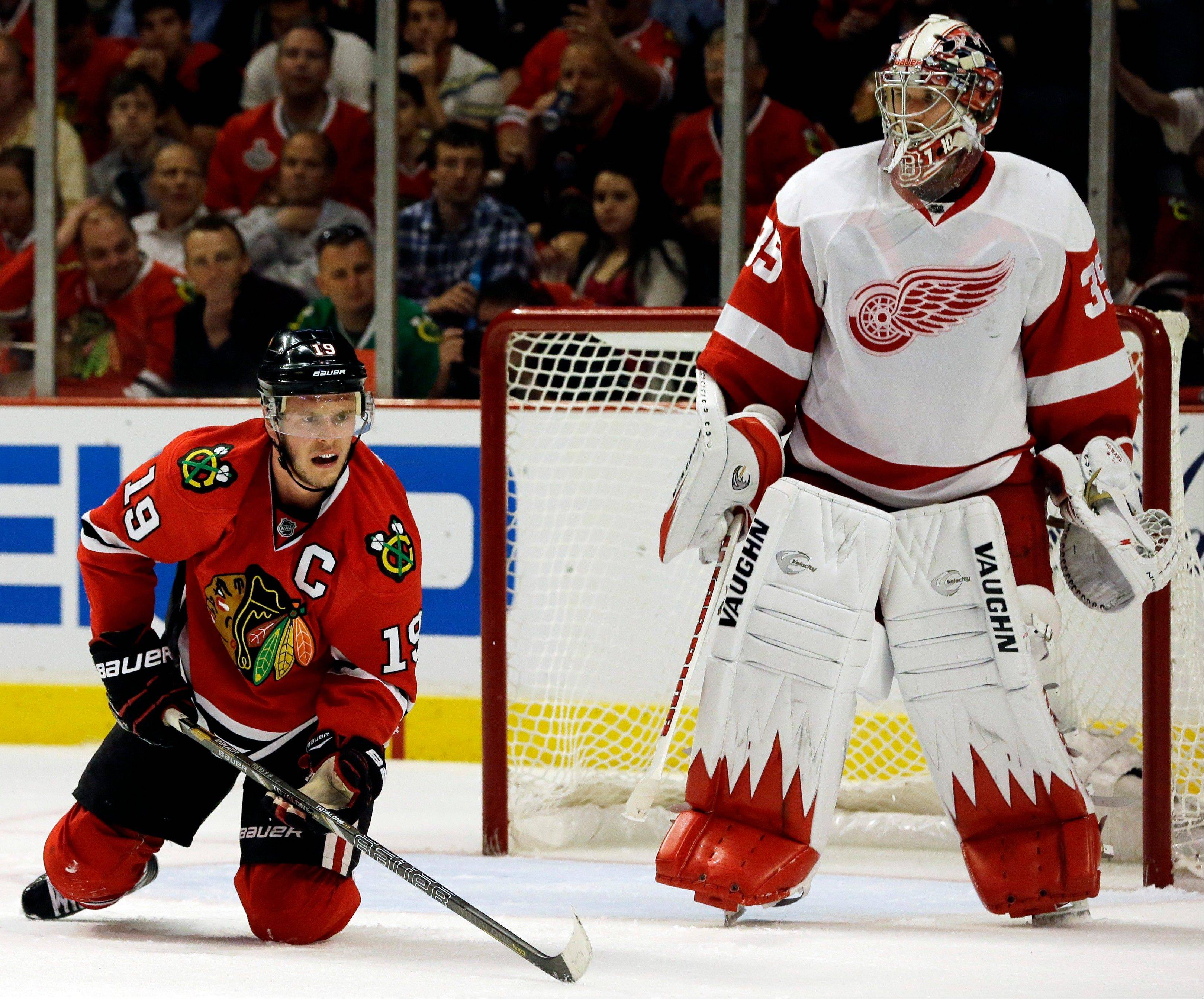 "Jonathan Toews has not scored a goal in eight playoff games this postseason, but Red Wings goalie Jimmy Howard said that the Blackhawks captain ""is the heart and soul of that team and sort of sets the tone for them."""