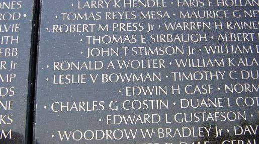 "Army First Lt. Ronald Wolter's name appears on the Vietnam Veterans Memorial wall in Washington, D.C., which honors veterans killed in combat during the war. Last week, his great-nephew, Christian Sanchez, 13, of Carpentersville, found Wolter's name there during a class trip to the nation's capital and brought back etchings for several relatives. Many friends and chaperones helped Christian find his great-uncle's name. ""It's a big wall -- there are thousands of names,"" Christian said."