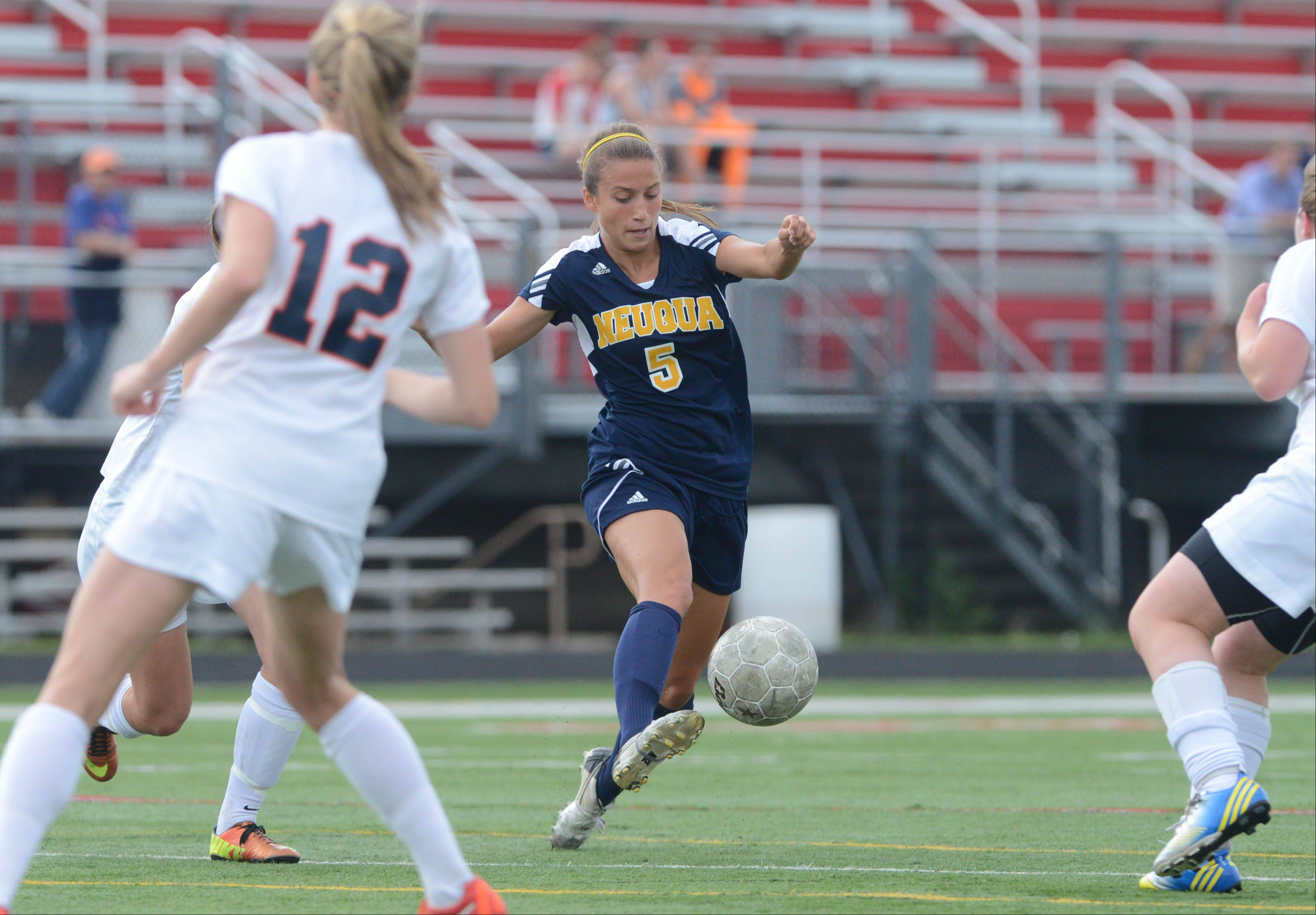 Hope D'Addario of Neuqua moves the ball during the Class 4A Bolingbrook girls soccer semifinals Wednesday.