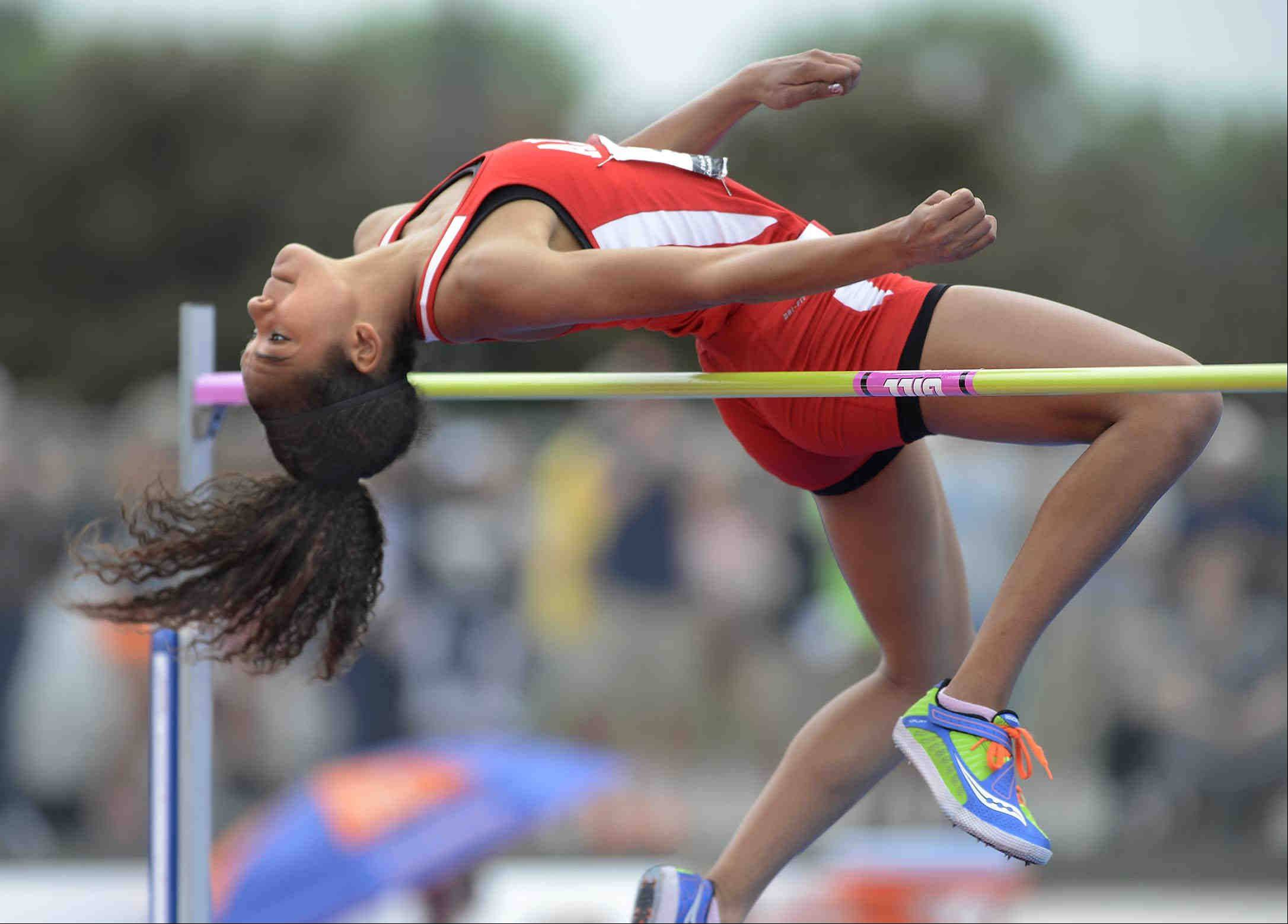 Aurora Christian's Peyton Wade wins the high jump Saturday at the Class 1A girls state track and field finals at O'Brien Stadium at Eastern Illinois University in Charleston.