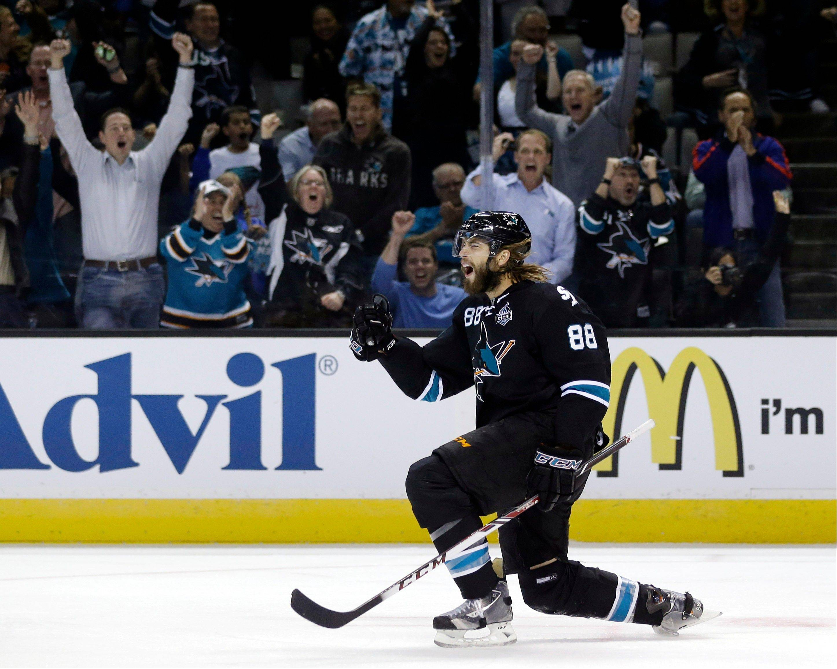 San Jose Sharks' Brent Burns (88) celebrates his goal against the Los Angeles Kings during the first period in Game 4 of their second-round NHL hockey Stanley Cup playoff series in San Jose, Calif., Tuesday, May 21, 2013.