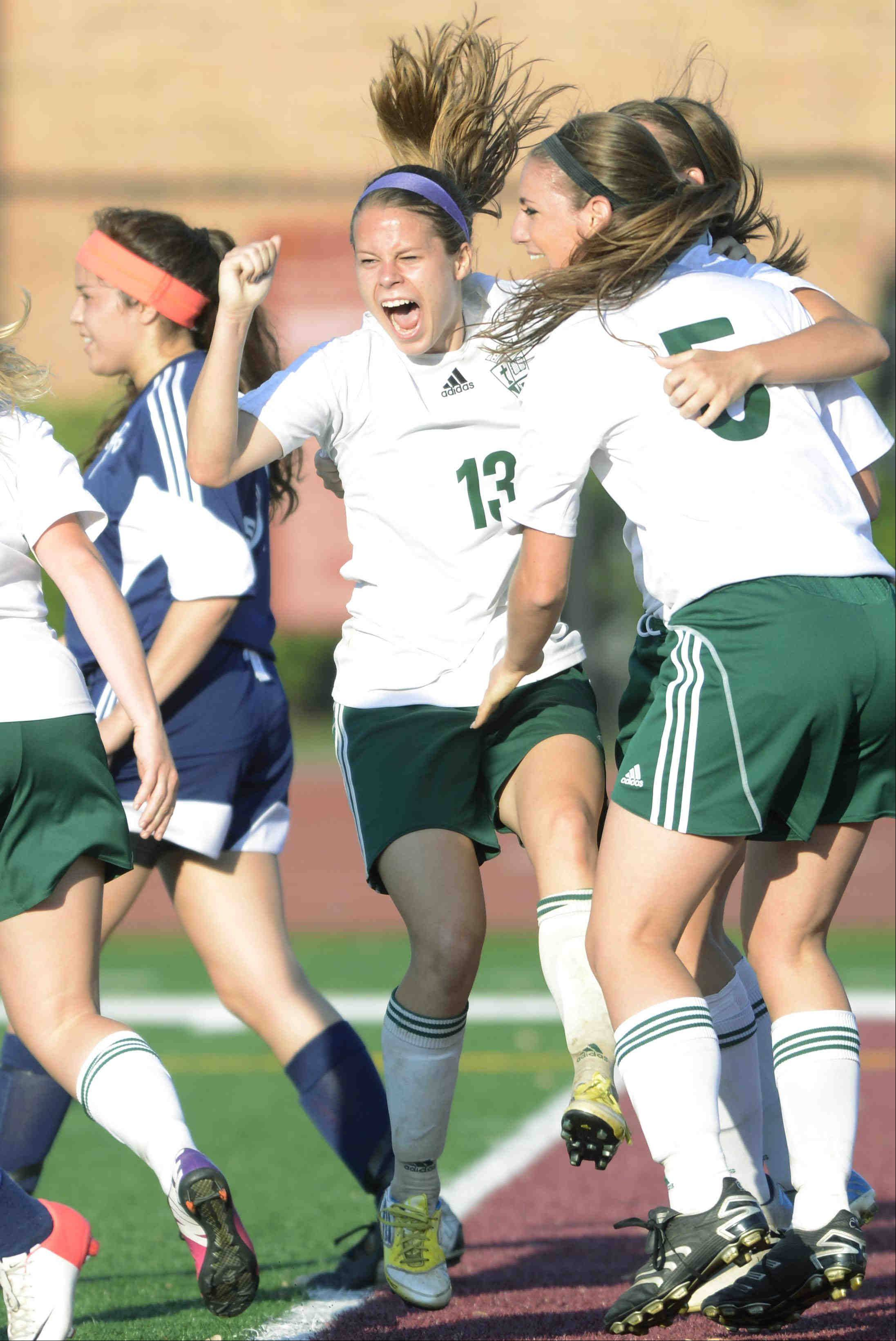 St. Edward's Meagan Kearney celebrates her goal against Francis W. Parker Tuesday in the supersectional playoff at Concordia University in River Forest.