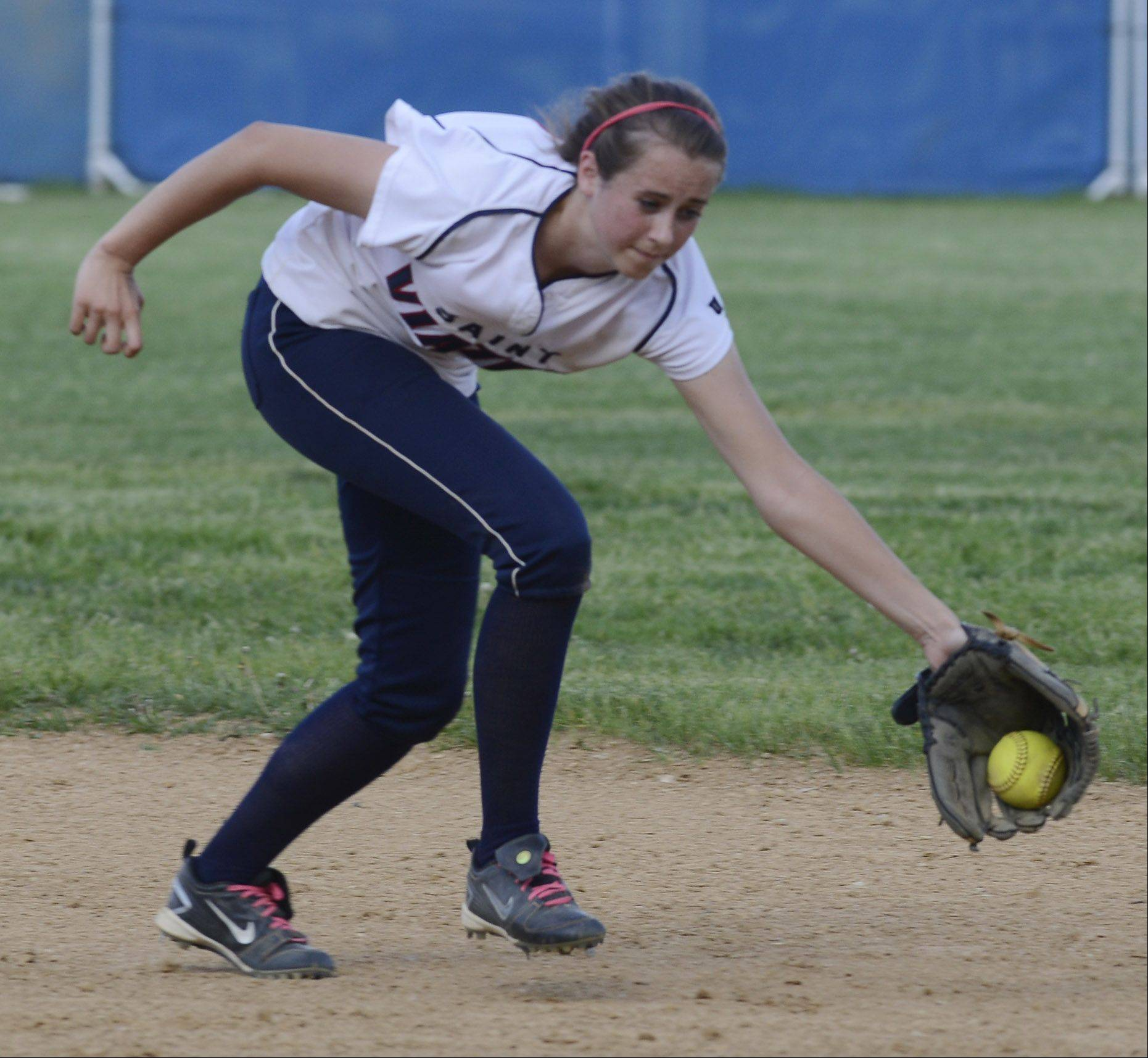 St. Viator shortstop Tess Kaiser fields a groundball but can't make a play in time against Vernon Hills during Tuesday's regional semifinal in Arlington Heights.