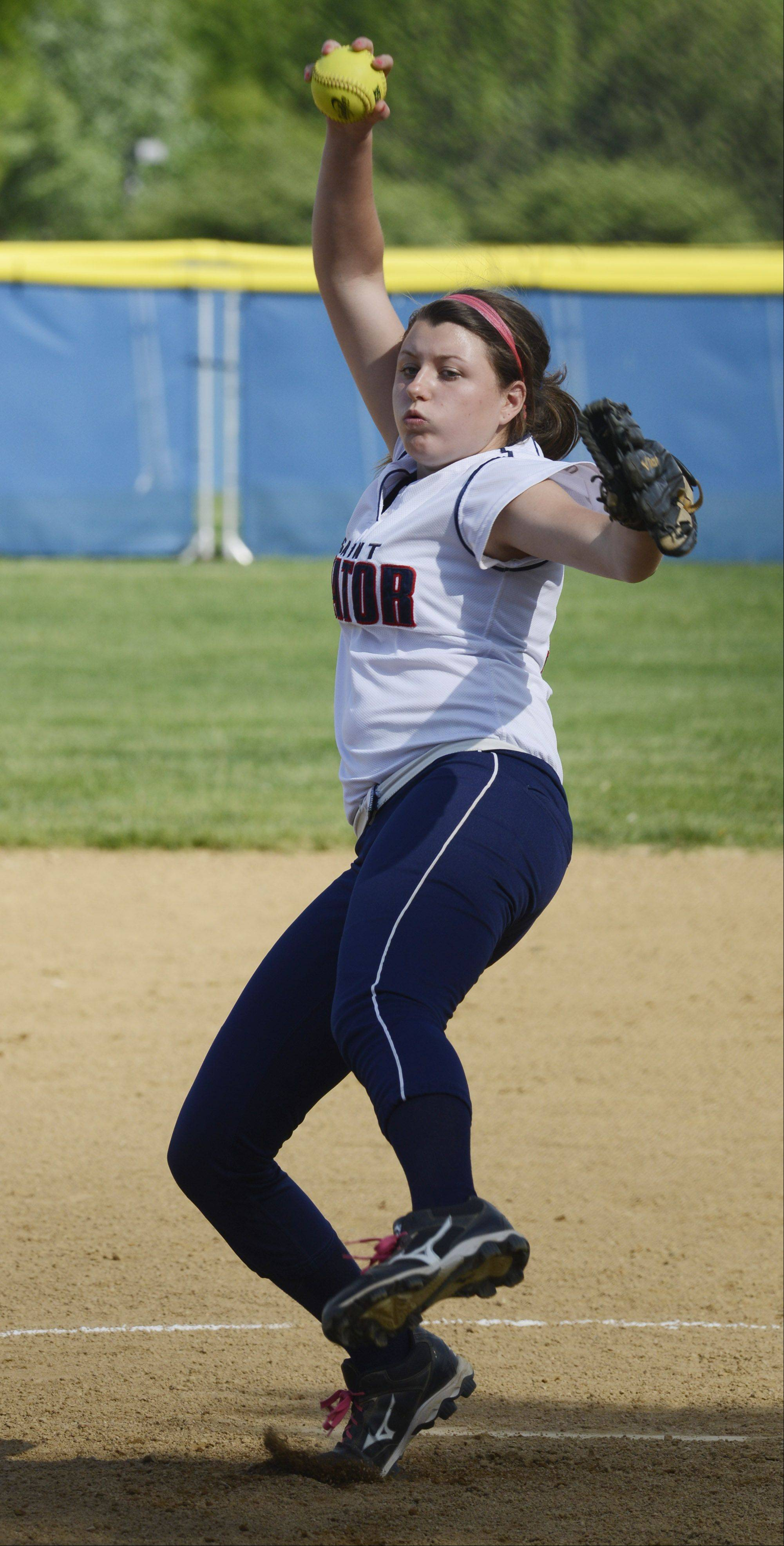 St. Viator's Sam Hogan delivers a pitch during Tuesday's regional semifinal against Vernon Hills.
