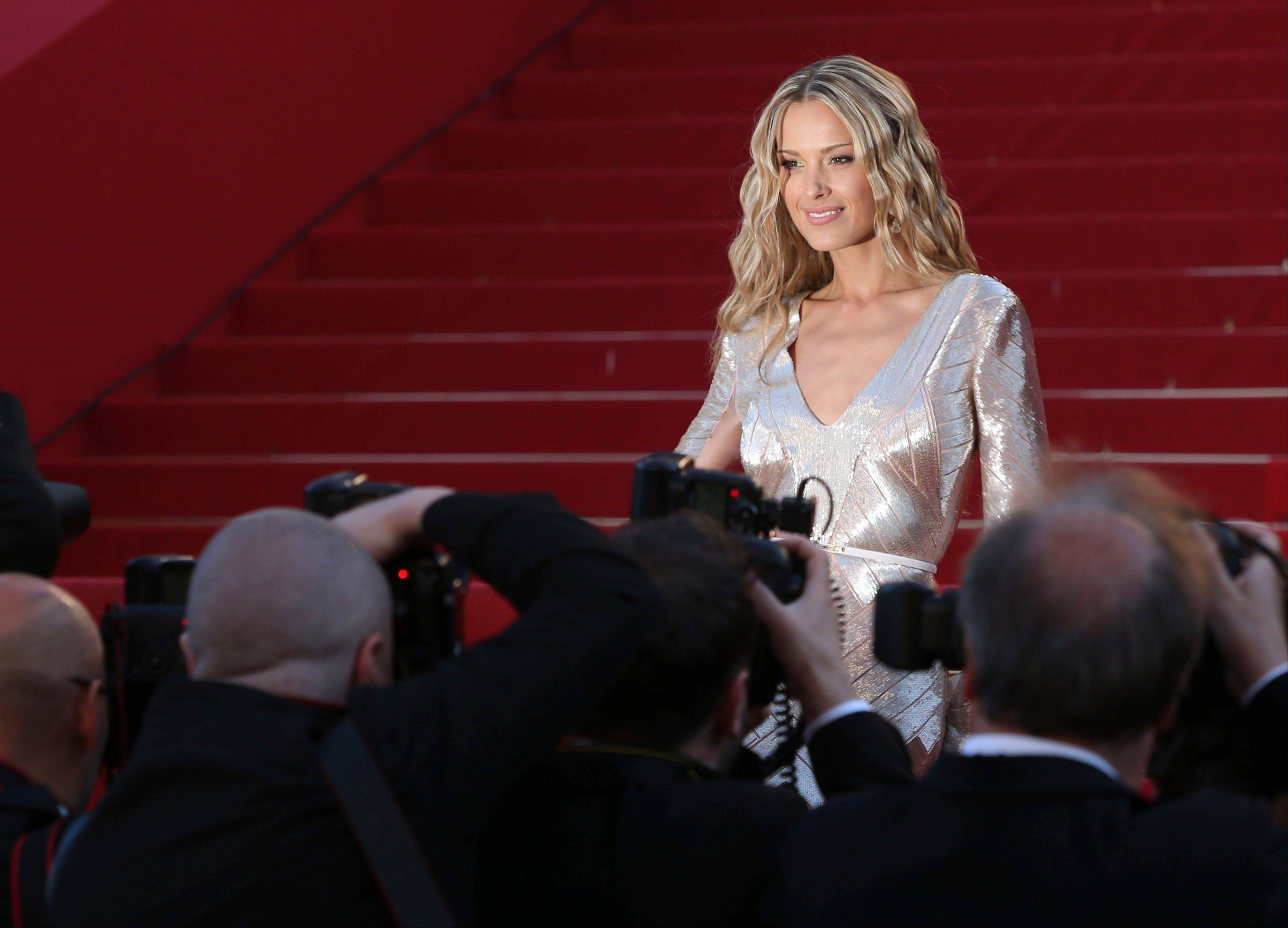 Model Petra Nemcova arrives on the red carpet Tuesday for the screening of Behind the Candelabra at the 66th international film festival, in Cannes.