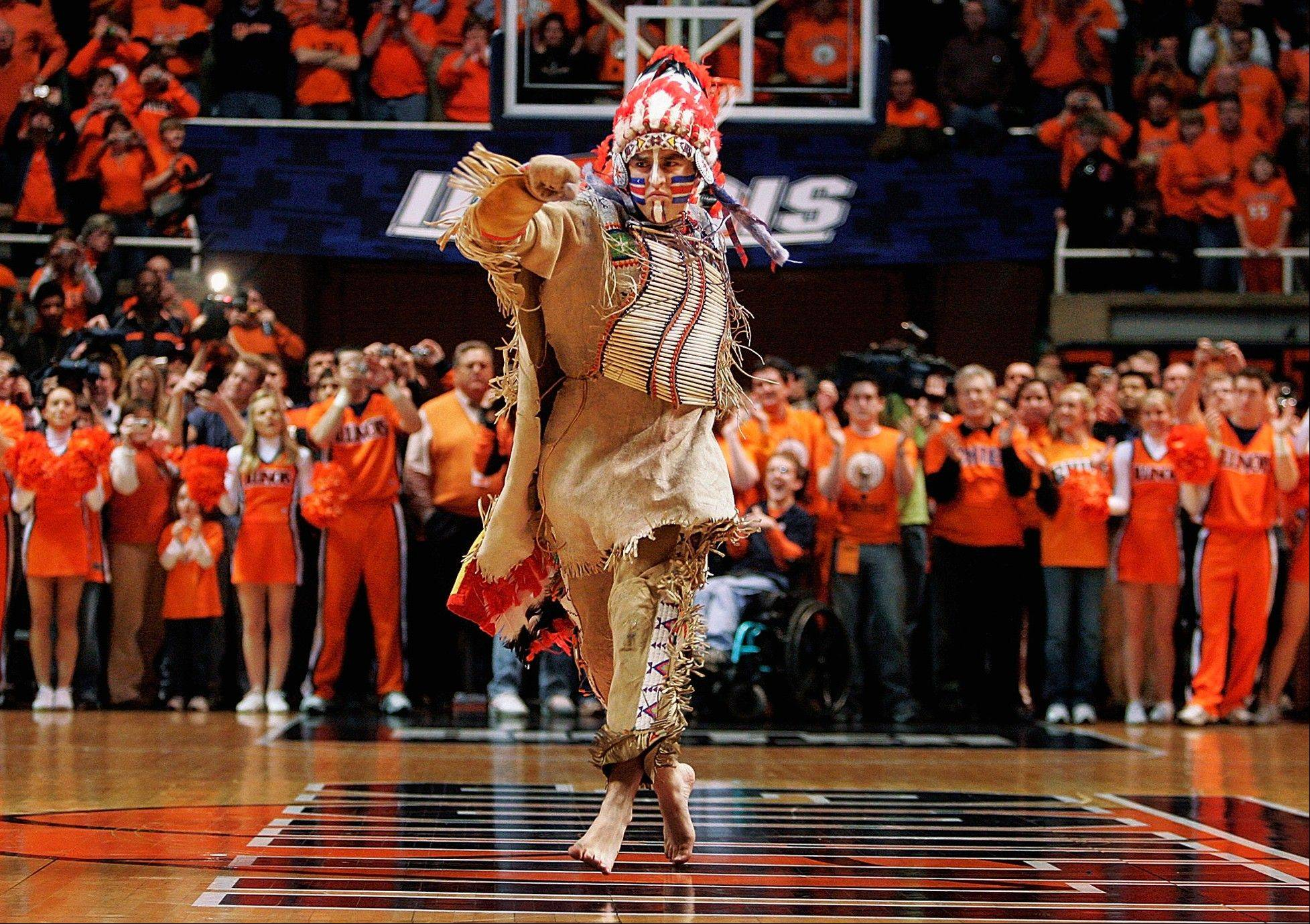 Chief Illiniwek performs for the last time during an Illinois basketball game in Champaign in 2007.