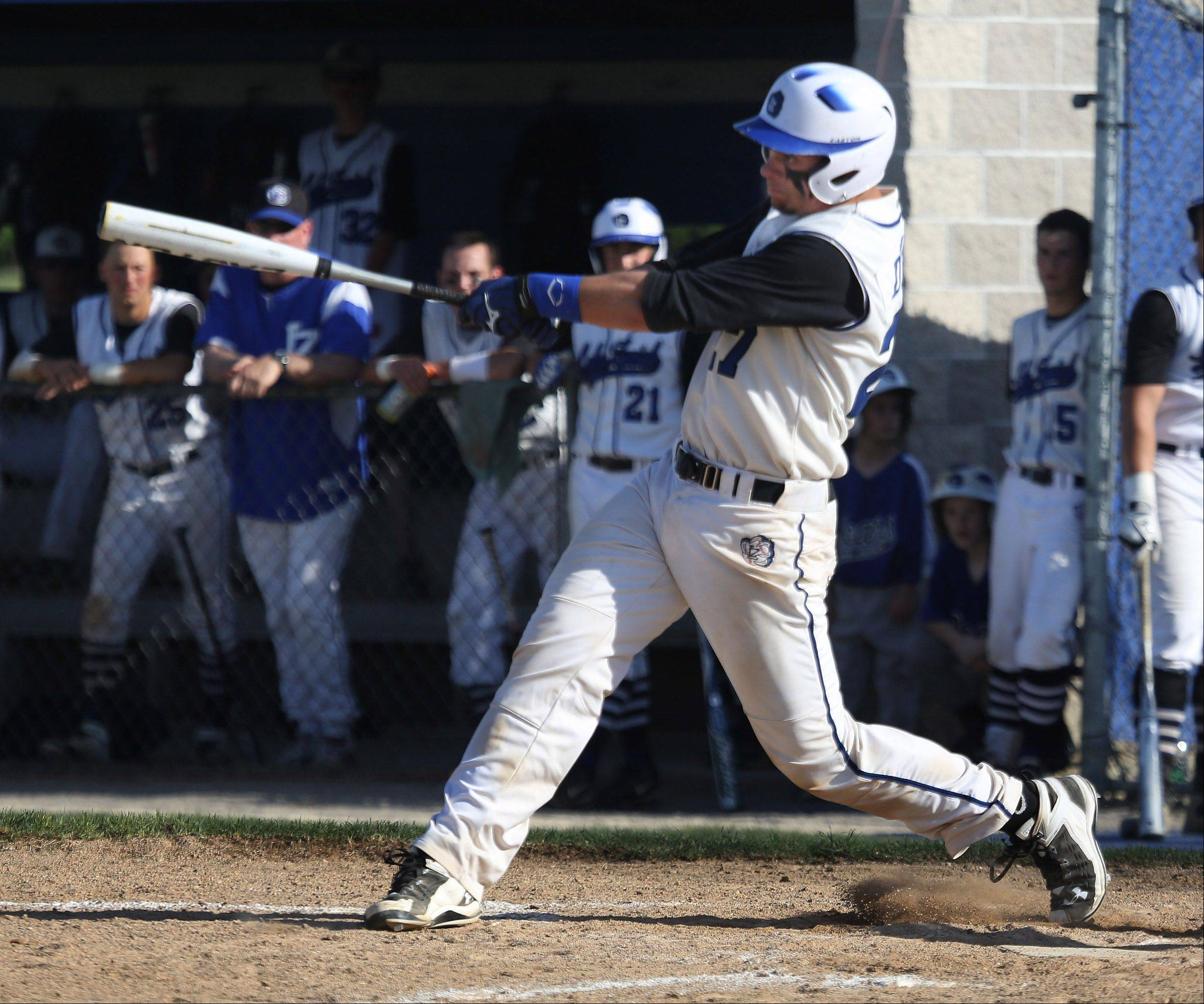 Gilbert R. Boucher II/gboucher@dailyherald.com � Lake Zurich hitter Anthony Drago gets a hit during the Class 4A regional play-in baseball game between Prospect and Lake Zurich Monday at Lake Zurich High School.