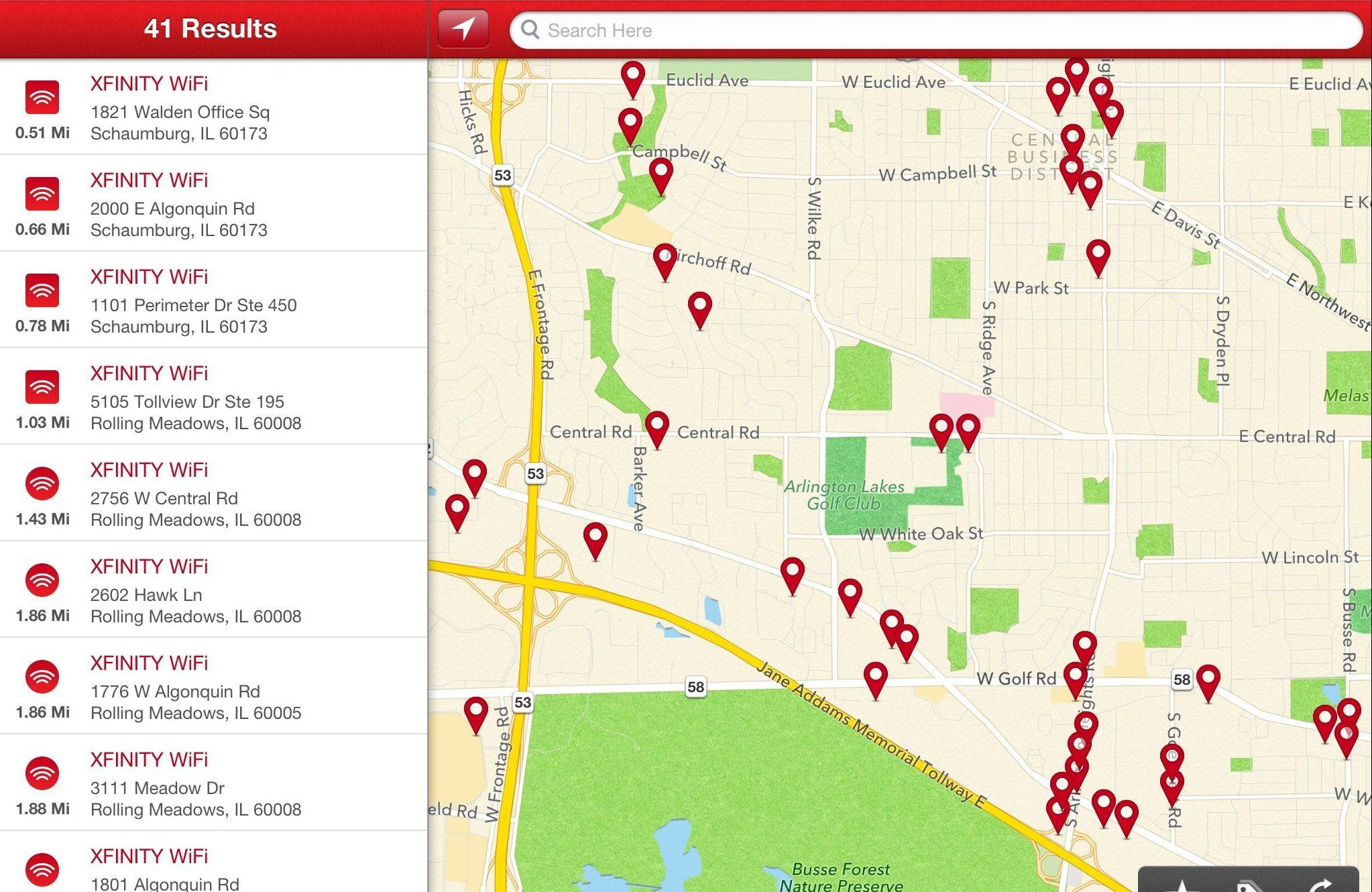 The Xfinity Wi-Fi app locates hot spots for its service in Chicago's suburbs.
