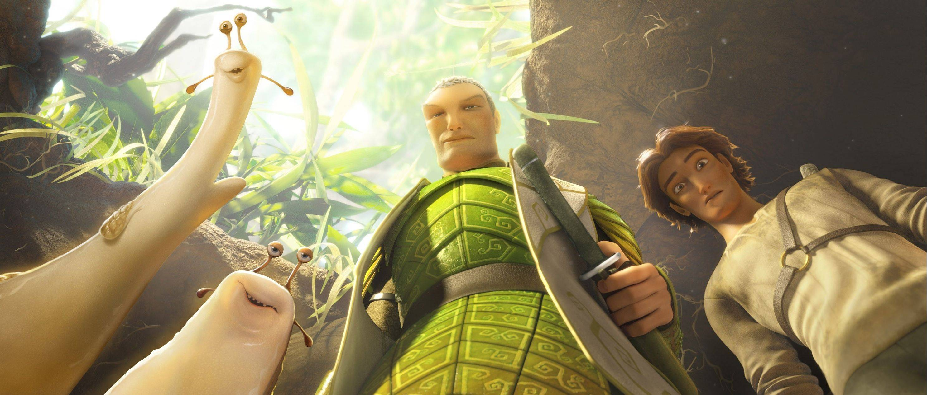 "Grub and Mub, left, join Leafmen protectors Ronin and Nod in a scene from the 3-D animated fantasy ""Epic."""