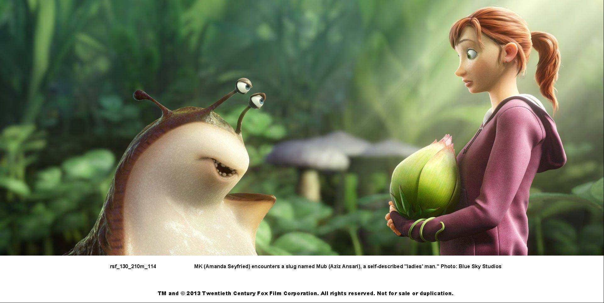 "Mub the slug (Aziz Ansar) lets his feelings be known to MK (Amanda Seyfried) in the 3-D animated fantasy ""Epic."""