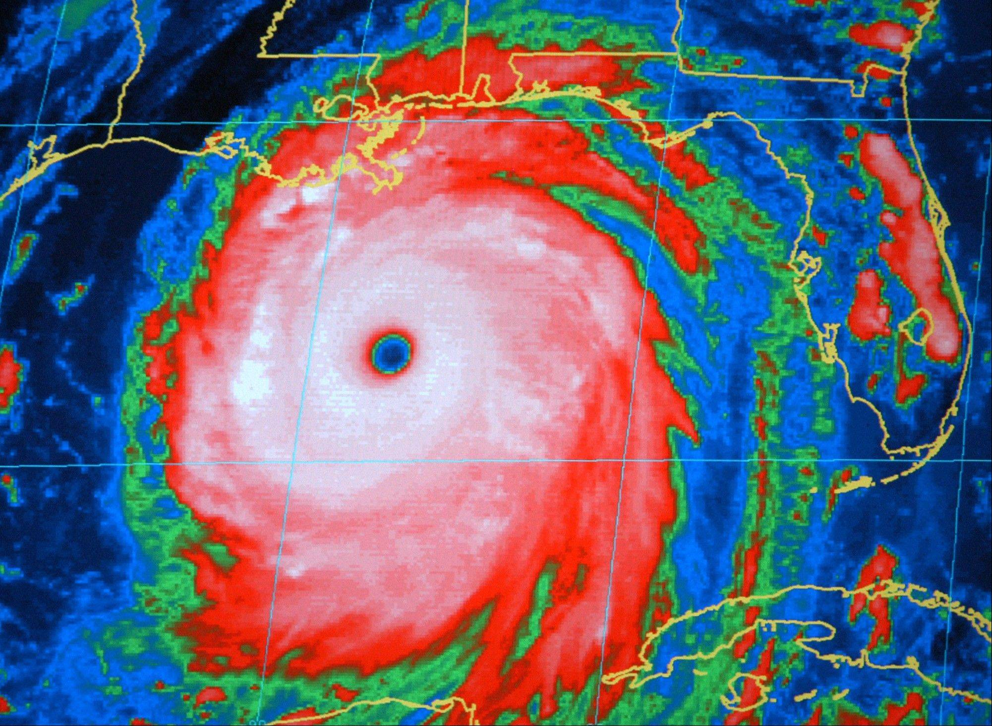 Associated Press/Aug. 28, 2005A National Oceanic and Atmospheric Administration infrared satellite image of Hurricane Katrina in the Gulf of Mexico. There are six lists used in rotation for storms in the Atlantic.
