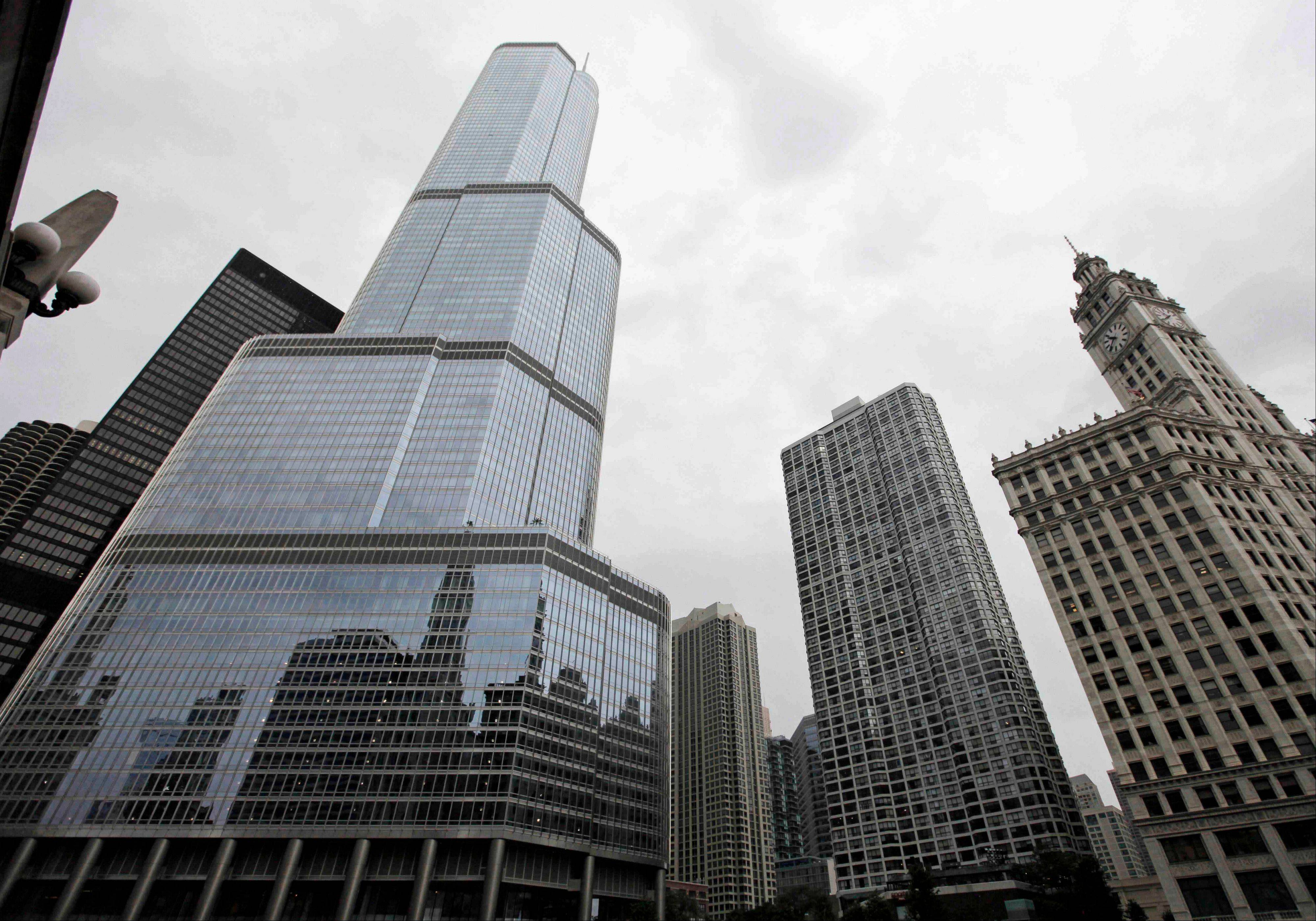 The Trump International Hotel & Tower, left, in downtown Chicago.