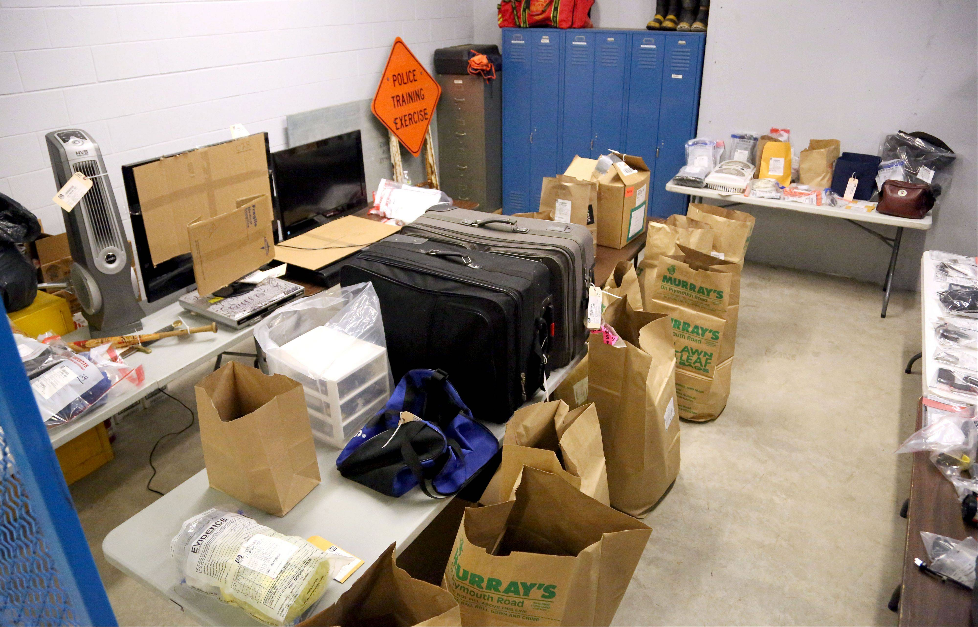 Stolen items recovered after two men were arrested for burglarizing a house in Mundelein are stored in a room at the Mundelein Police Station.