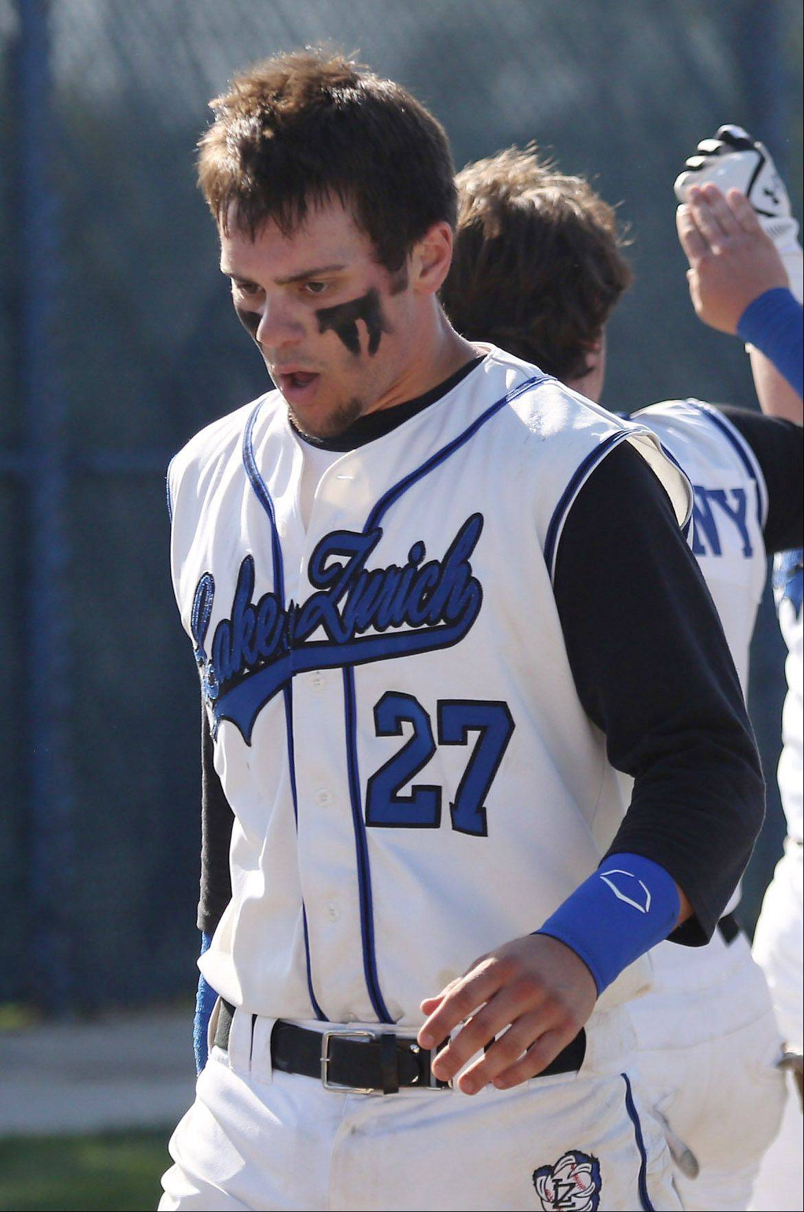 Gilbert R. Boucher II/gboucher@dailyherald.com � Lake Zurich catcher Anthony Drago during the Class 4A regional play-in baseball game between Prospect and Lake Zurich Monday at Lake Zurich High School.