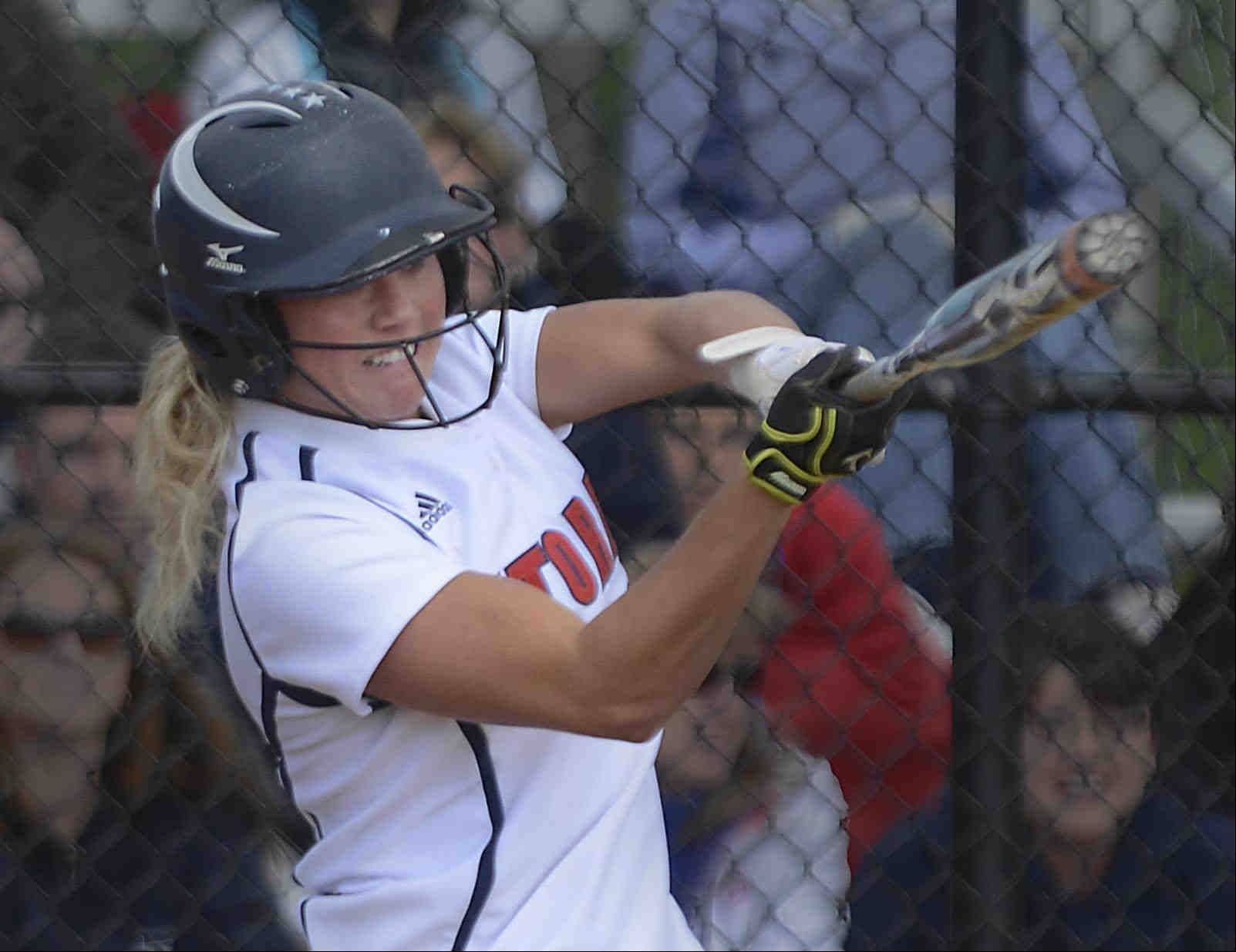 South Elgin senior Kara Rodriguez won the regional semifinal game against Elgin with an RBI single in the bottom of the eighth inning at St. Charles North Thursday.