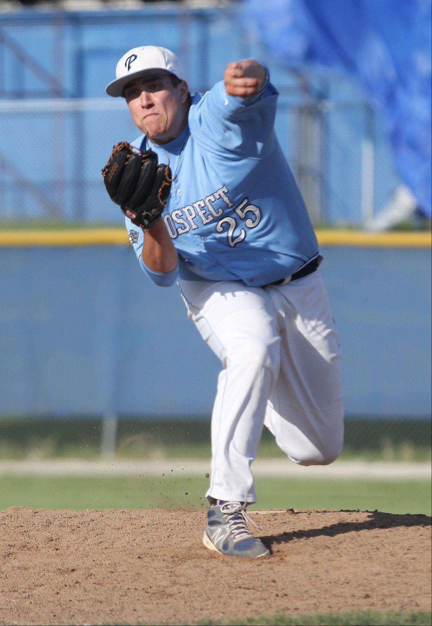 Prospect pitcher Zach Smith delivers during the Class 4A regional play-in game at Lake Zurich on Monday.