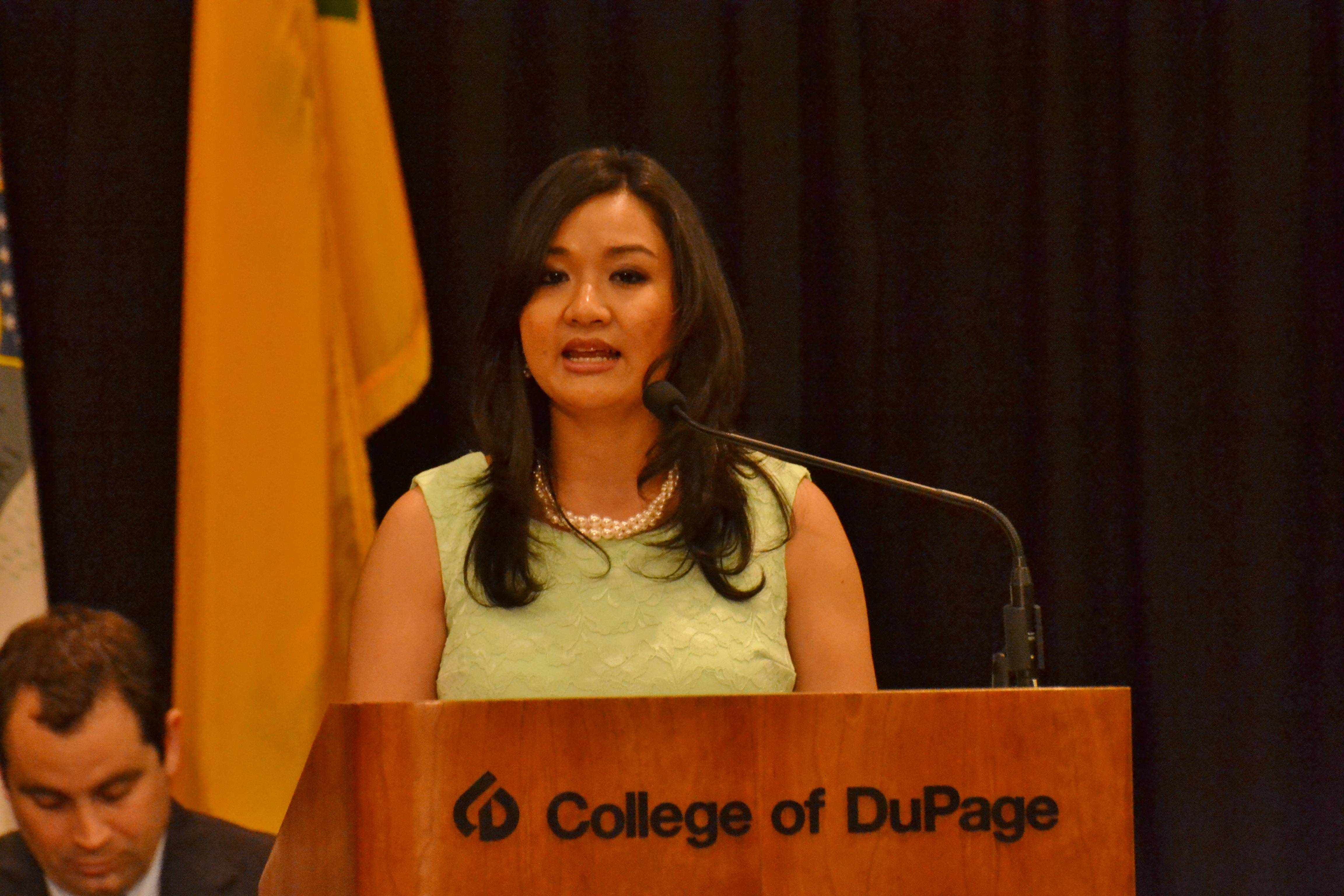Pictured: GED student Chanbopha Loera addresses her fellow graduates May 18 at College of DuPage. Loera is one of 13 recipients of this year's Jump Start Scholarship,
