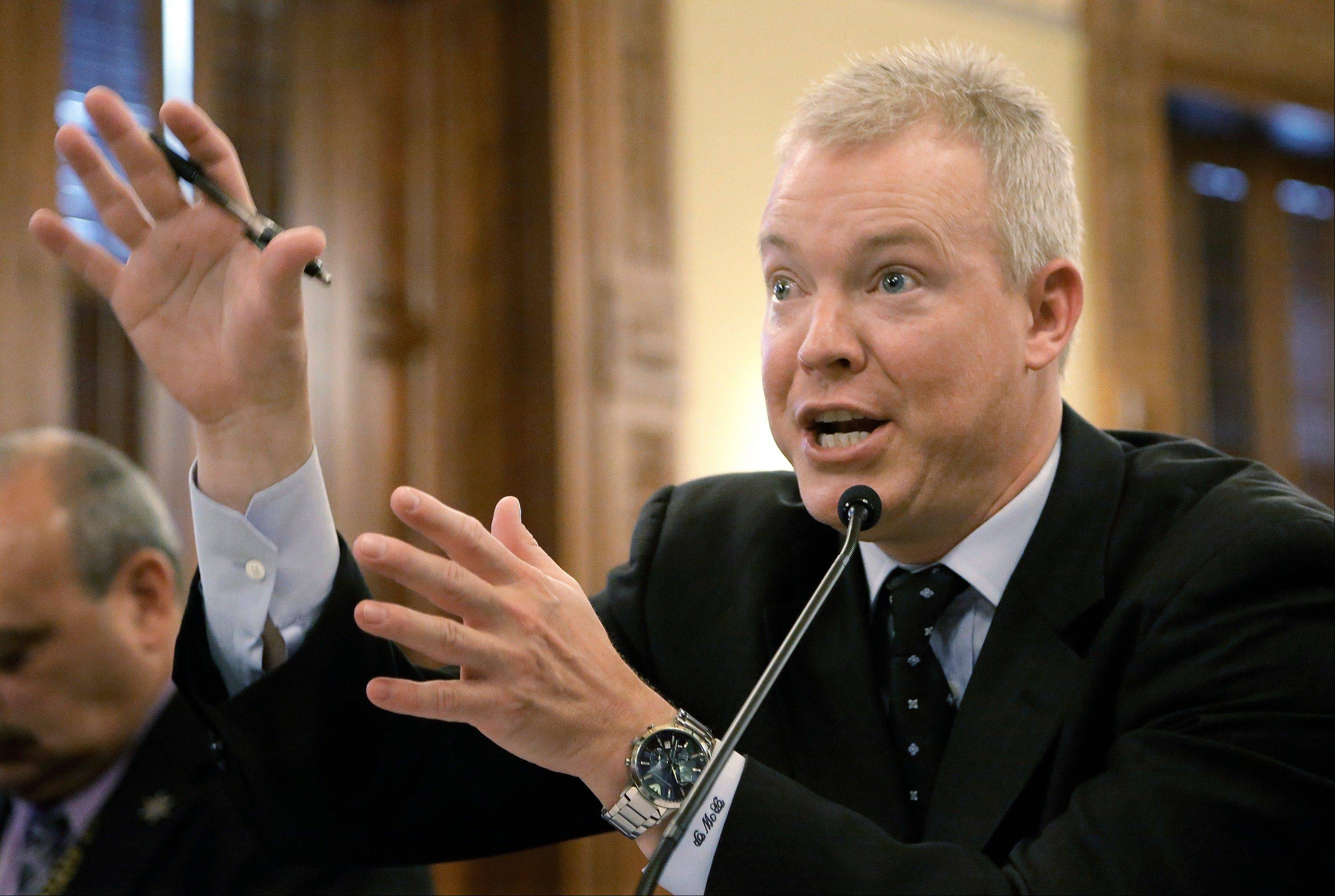 Illinois Rep. Brandon Phelps, D-Harrisburg, testifies during a House Committee hearing on concealed carry gun legislation at the Illinois State Capitol Thursday.