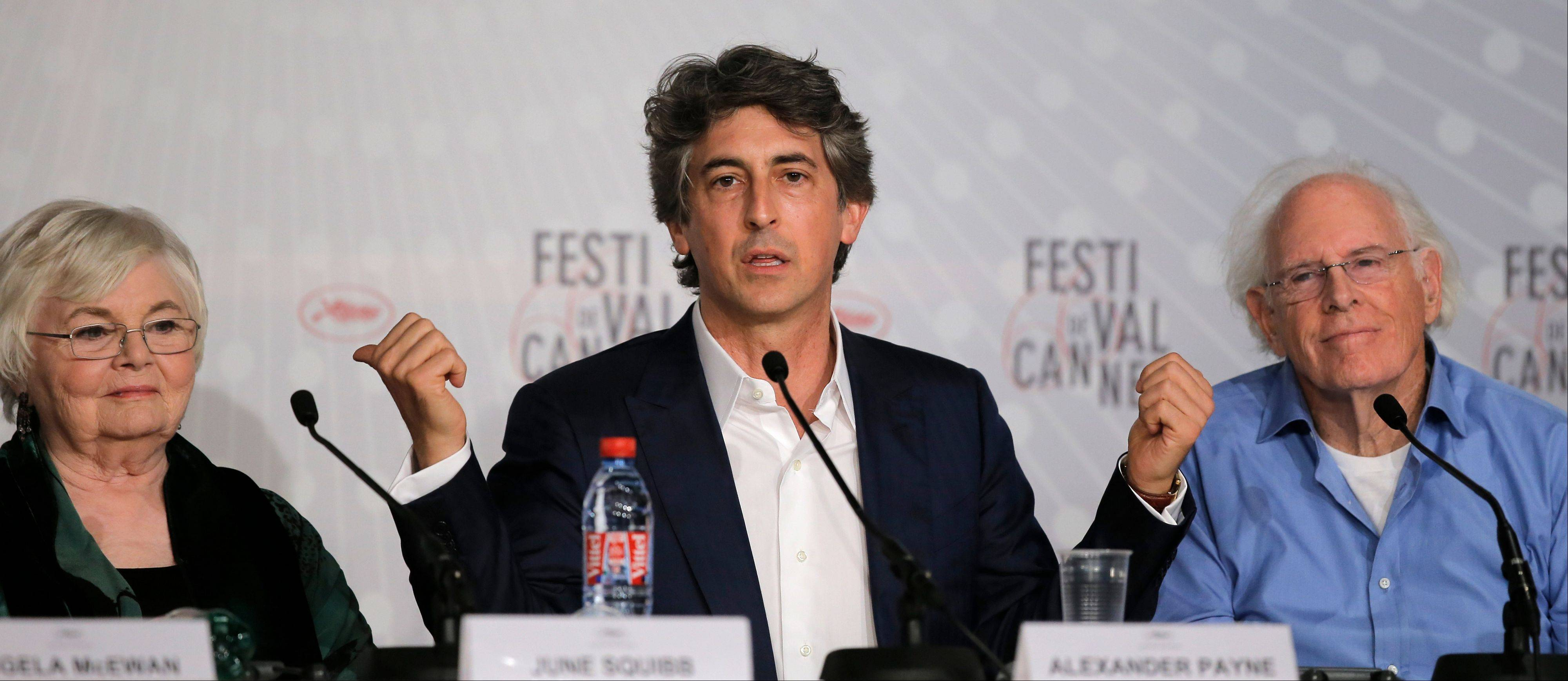 "Director Alexander Payne, center, speaks as actors June Squibb, left, and Bruce Dern listen during a press conference for ""Nebraska"" at the 66th international film festival, in Cannes, France."