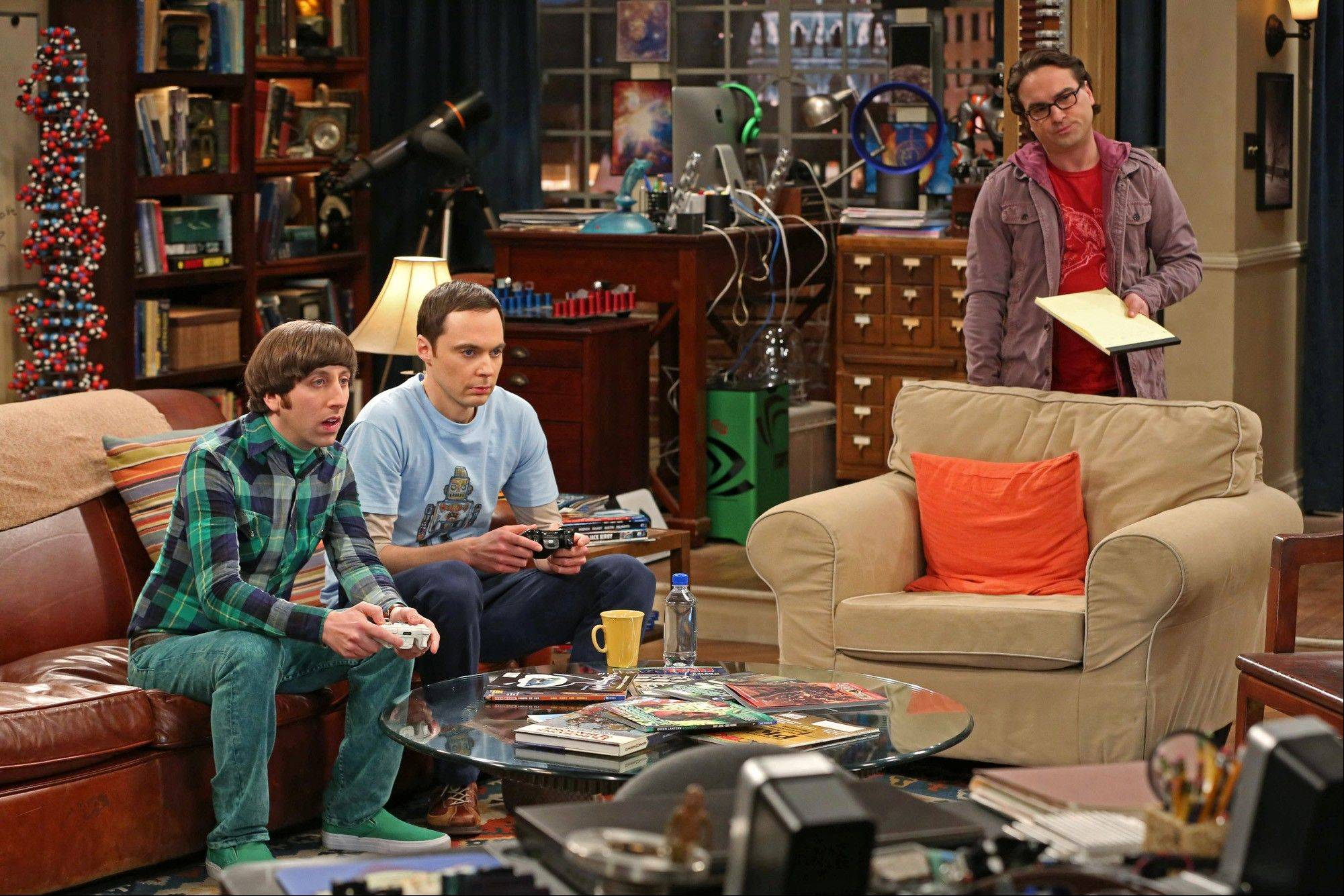 "Simon Helberg, left, Jim Parsons, and Johnny Galecki on CBS' ""The Big Bang Theory"" was TV's top comedy."