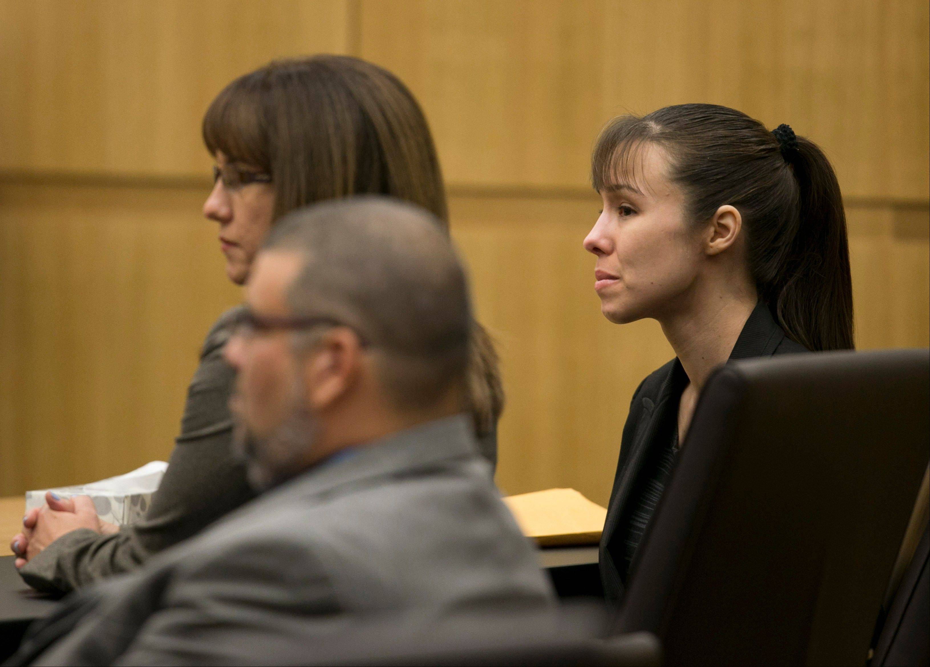 Jodi Arias listens Thursday as the verdict for sentencing is read for her first degree murder conviction at Maricopa County Superior Court in Phoenix, Ariz. The jury failed to reach a verdict on the death penalty.