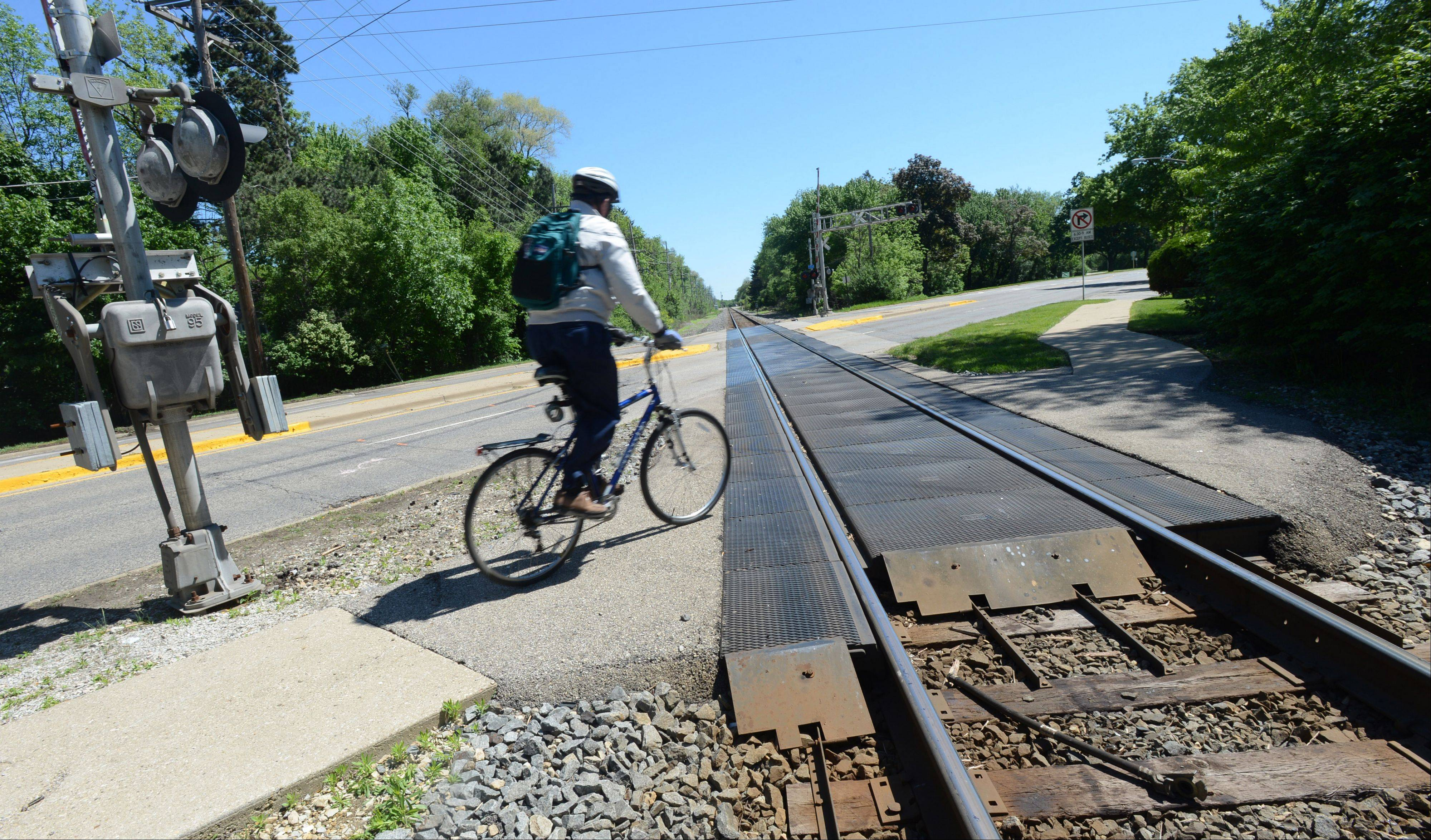 There's a much quieter scene at the CN crossing over Route 14 on Friday.