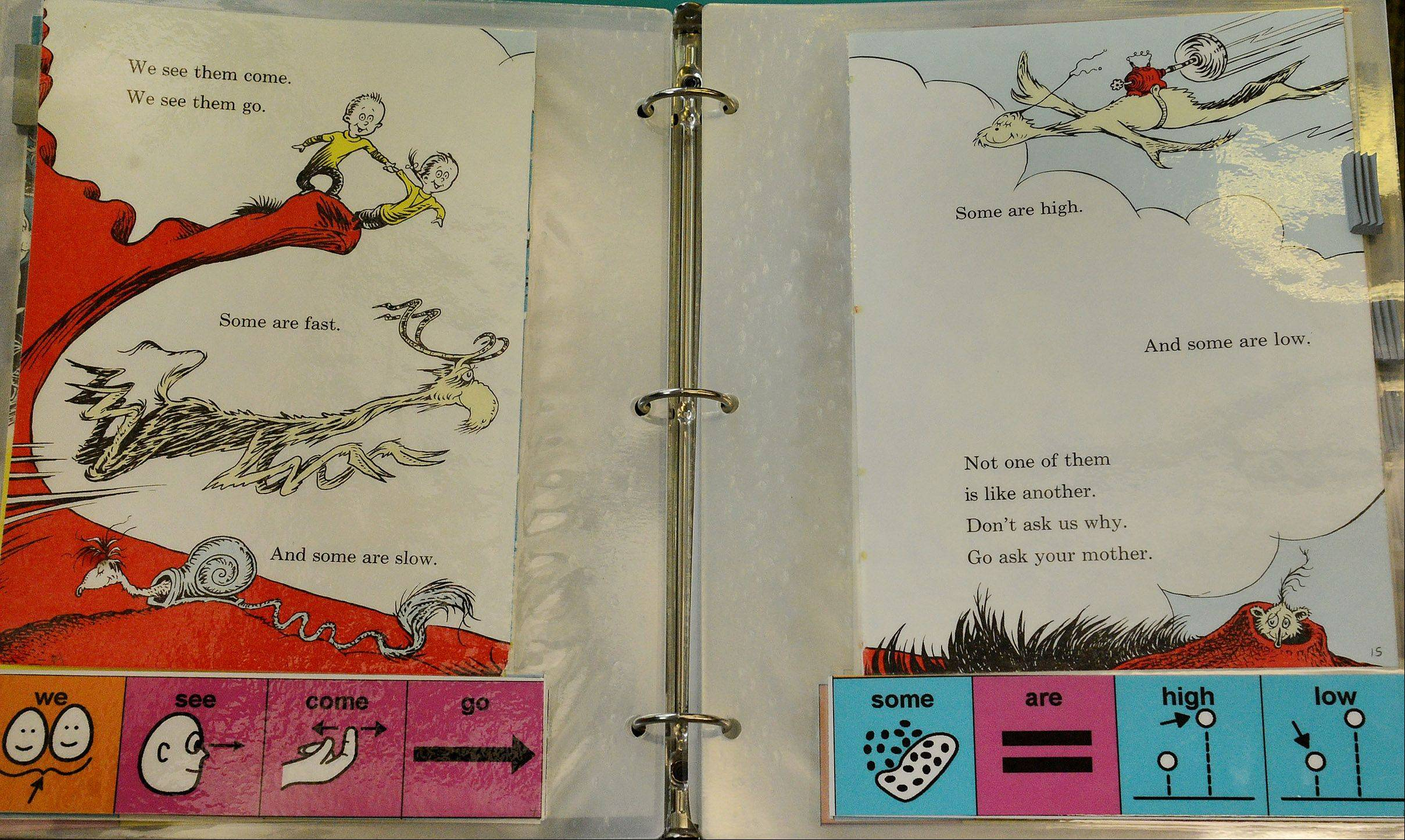 "A sample of the adapted ""One Fish, Two Fish, Red Fish, Blue Fish,"" by Dr. Seuss."