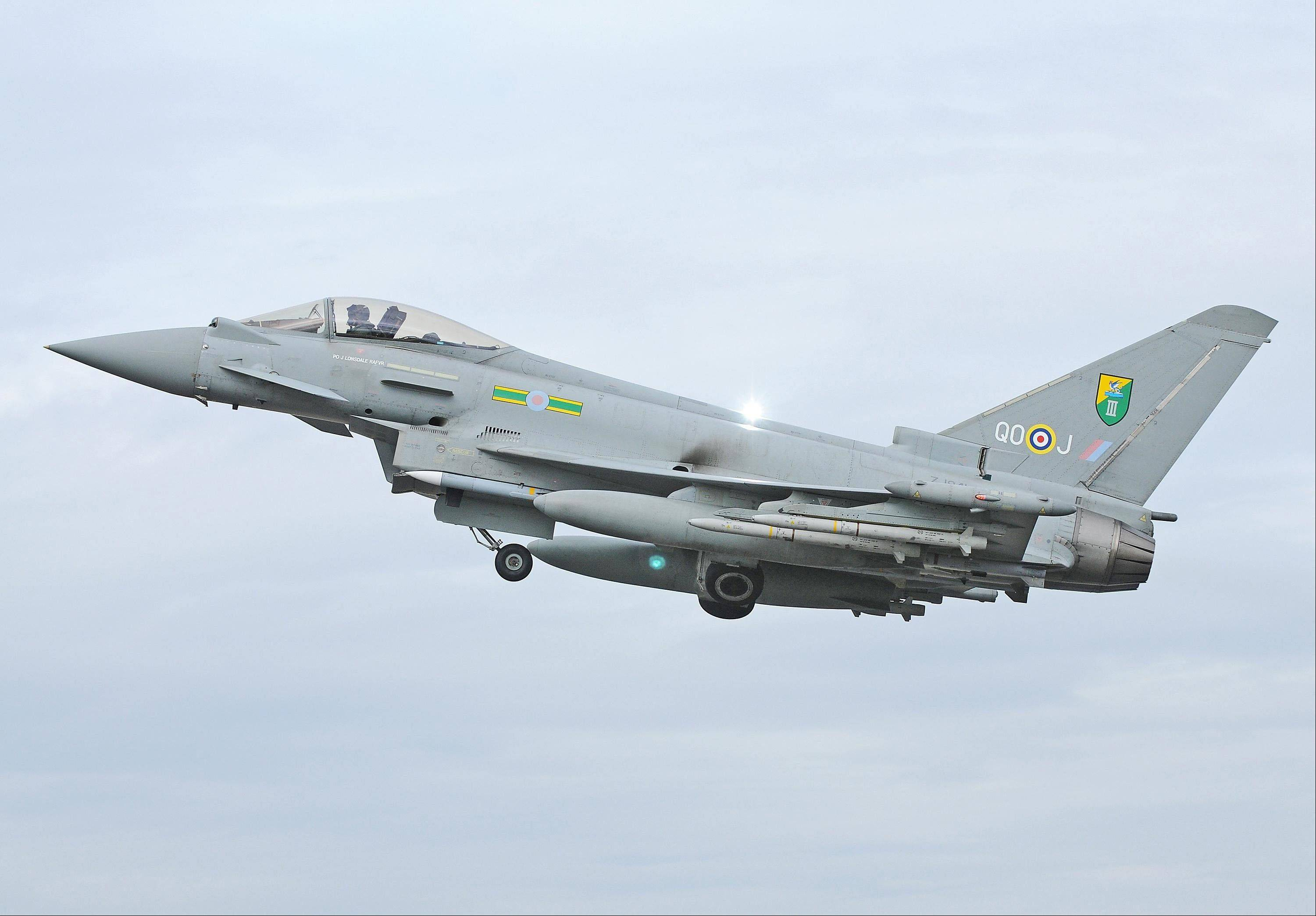 Undated photo issued by the British Ministry of Defence of an RAF Typhoon Aircraft of the type that has escorted a passenger plane into Stansted Airport in southern England following an incident on board Friday May 24, 2013. British media reported the flight was a Pakistan International Airlines passenger plane flying to Manchester, England.