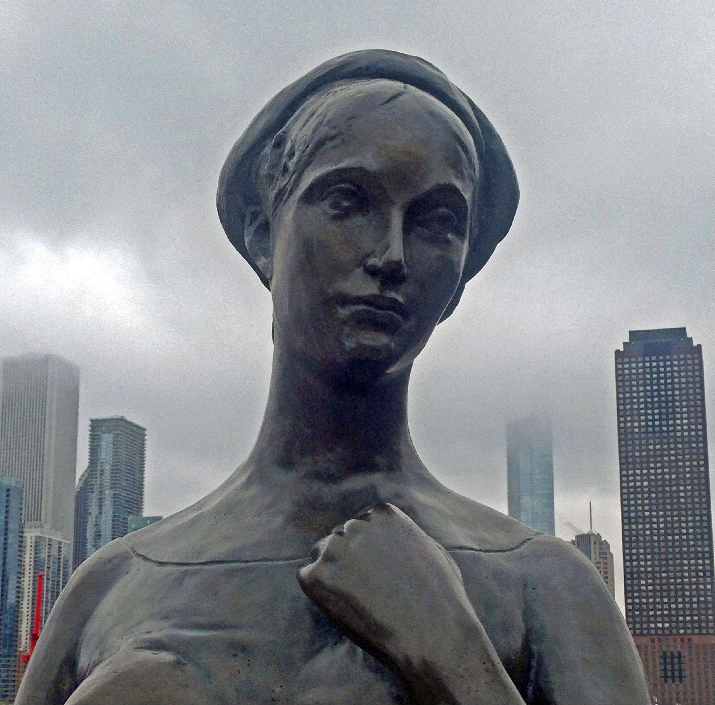 "Last week, I had a field trip to the Chicago Shakespeare Theatre at Navy Pier. I took this photo of the ""Juliet of Verona"" statue before the play started. The clouds provided a somewhat atmospheric effect."