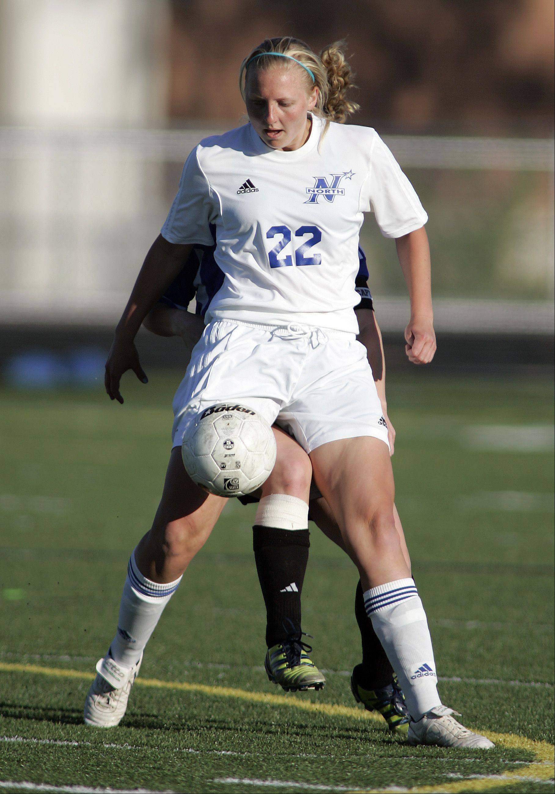 St. Charles North's Sophie Pohl (22) during the IHSA Girl's 3A Sectional Soccer Tournament Friday at Hoffman Estates High School.