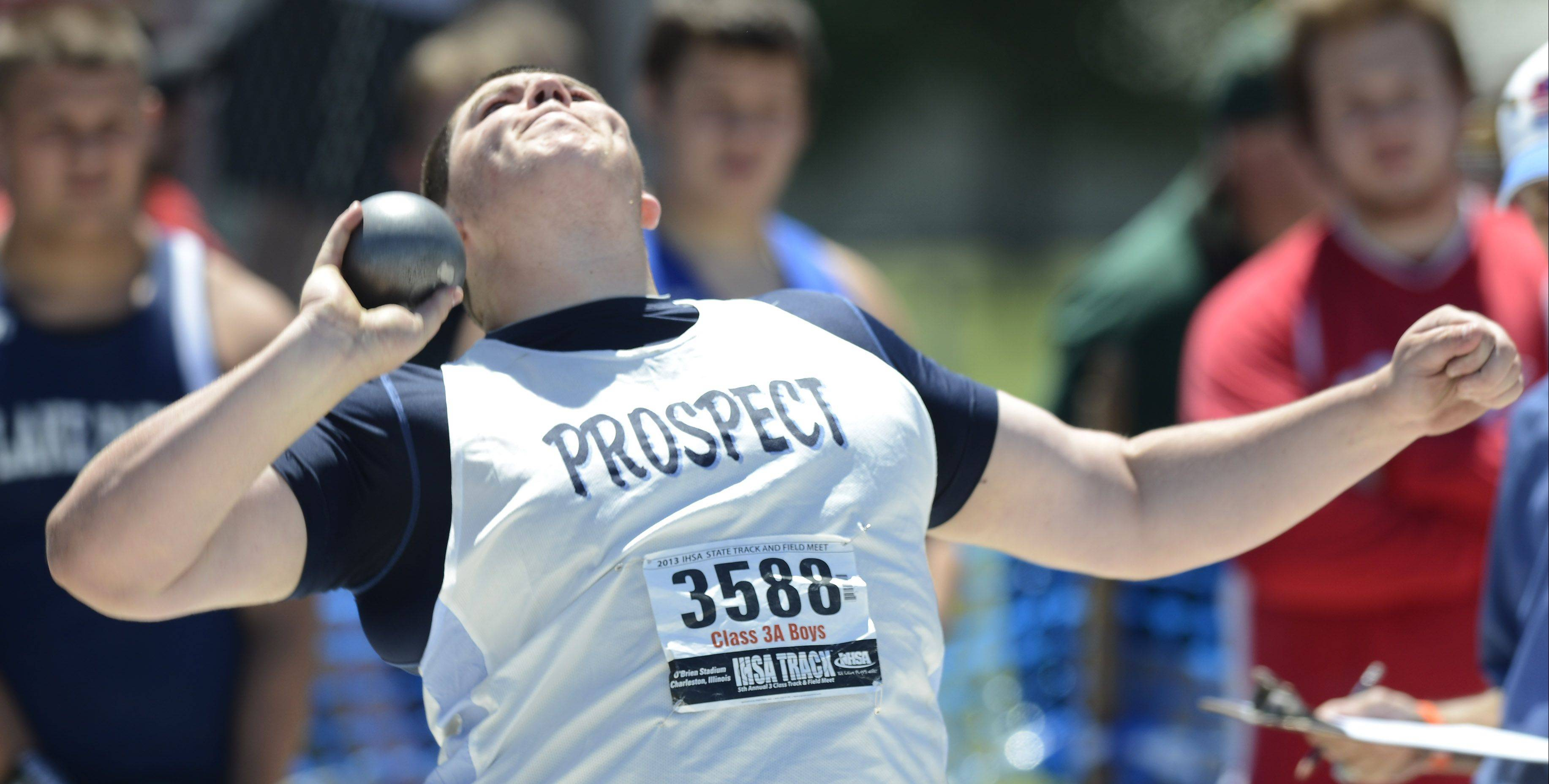 Prospect's Pat Costello throws in the Class 3A shot put during the boys track state meet preliminaries in Charleston on Friday.