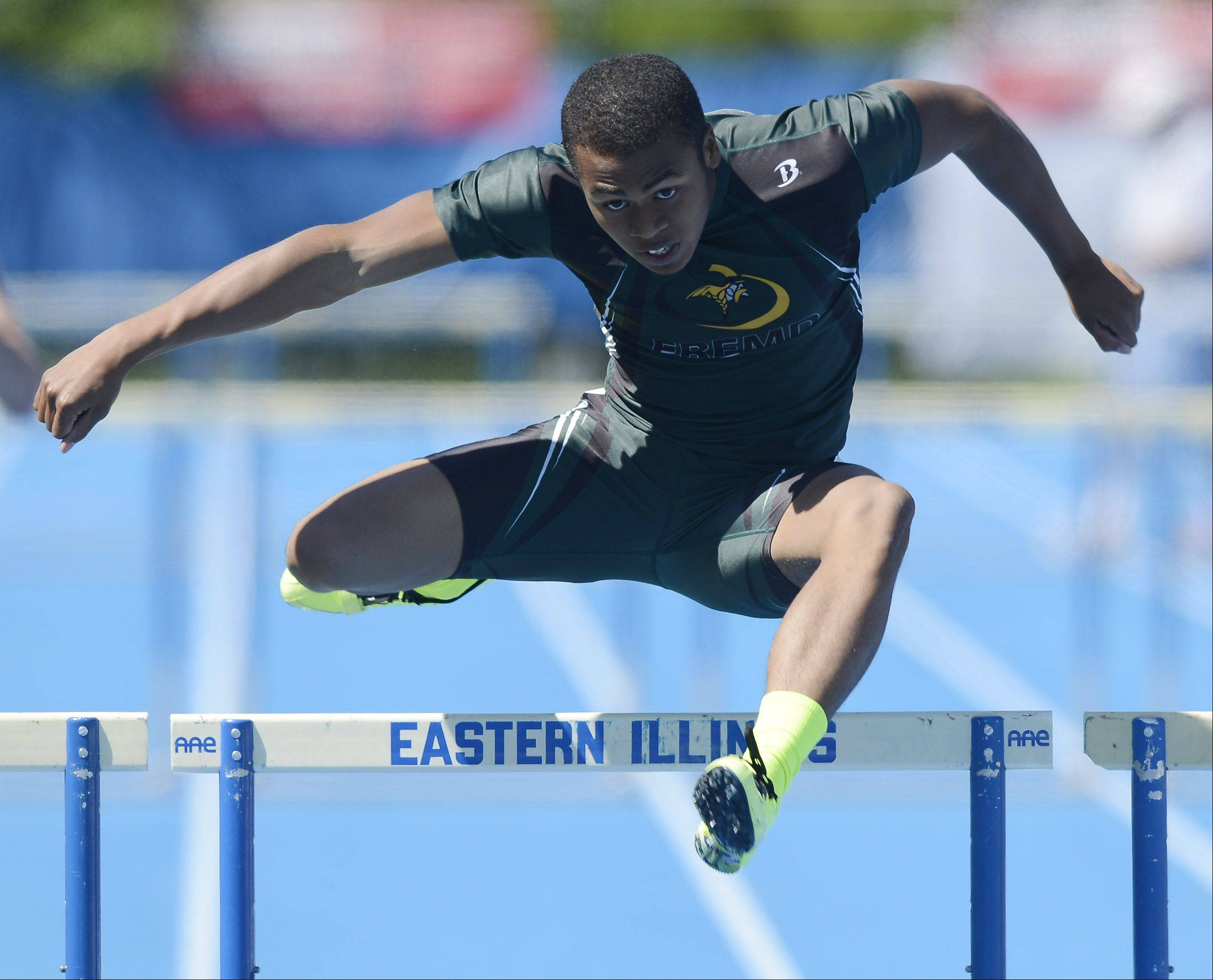 Fremd's Josh Yamamoto clears the final hurdle in the Class 3A 300-meter intermediate hurdles during the boys track state meet preliminaries in Charleston on Friday.