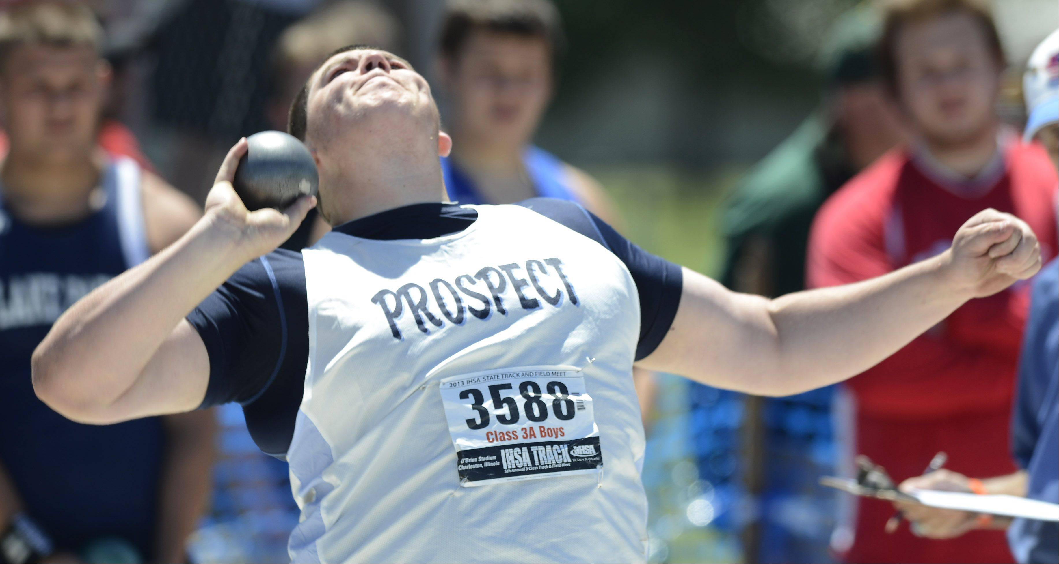 Prospect's Pat Costello throws in the Class 3A shot put during the boys state track preliminaries in Charleston Friday.