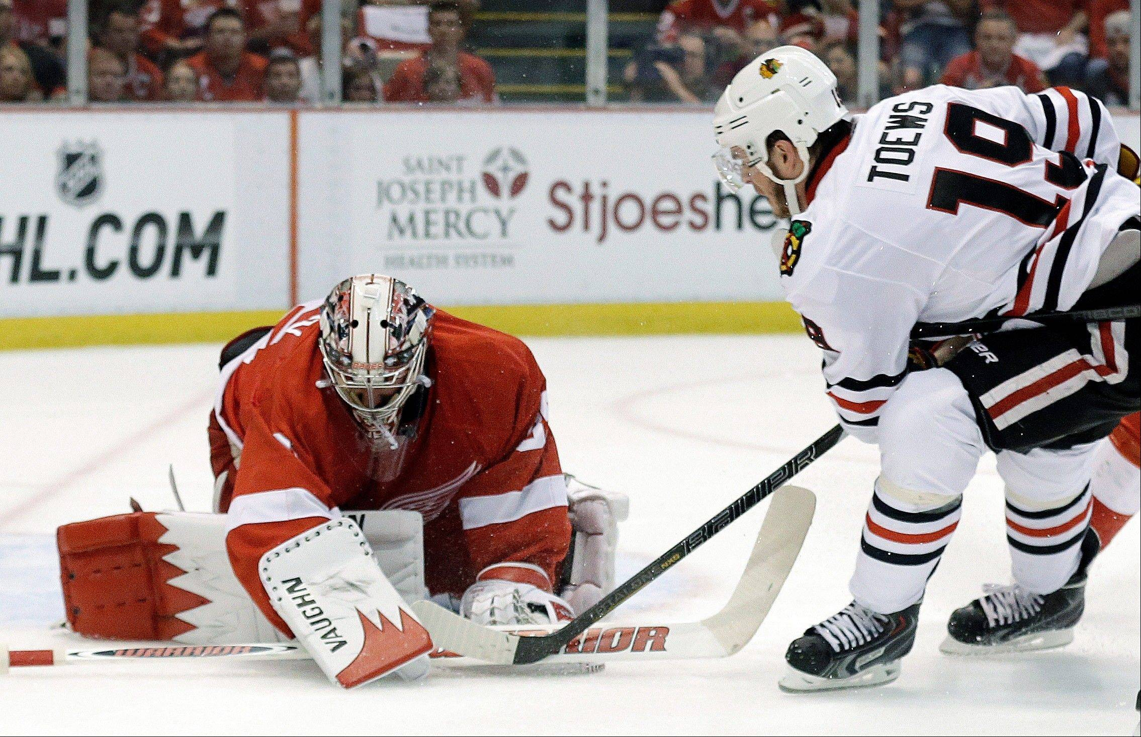 While Detroit Red Wings goalie Jimmy Howard has kept Blackhawks center Jonathan Toews scoreless during the playoffs, he was helped in Game 4 when Toews was sent to the penalty box three times in the game.
