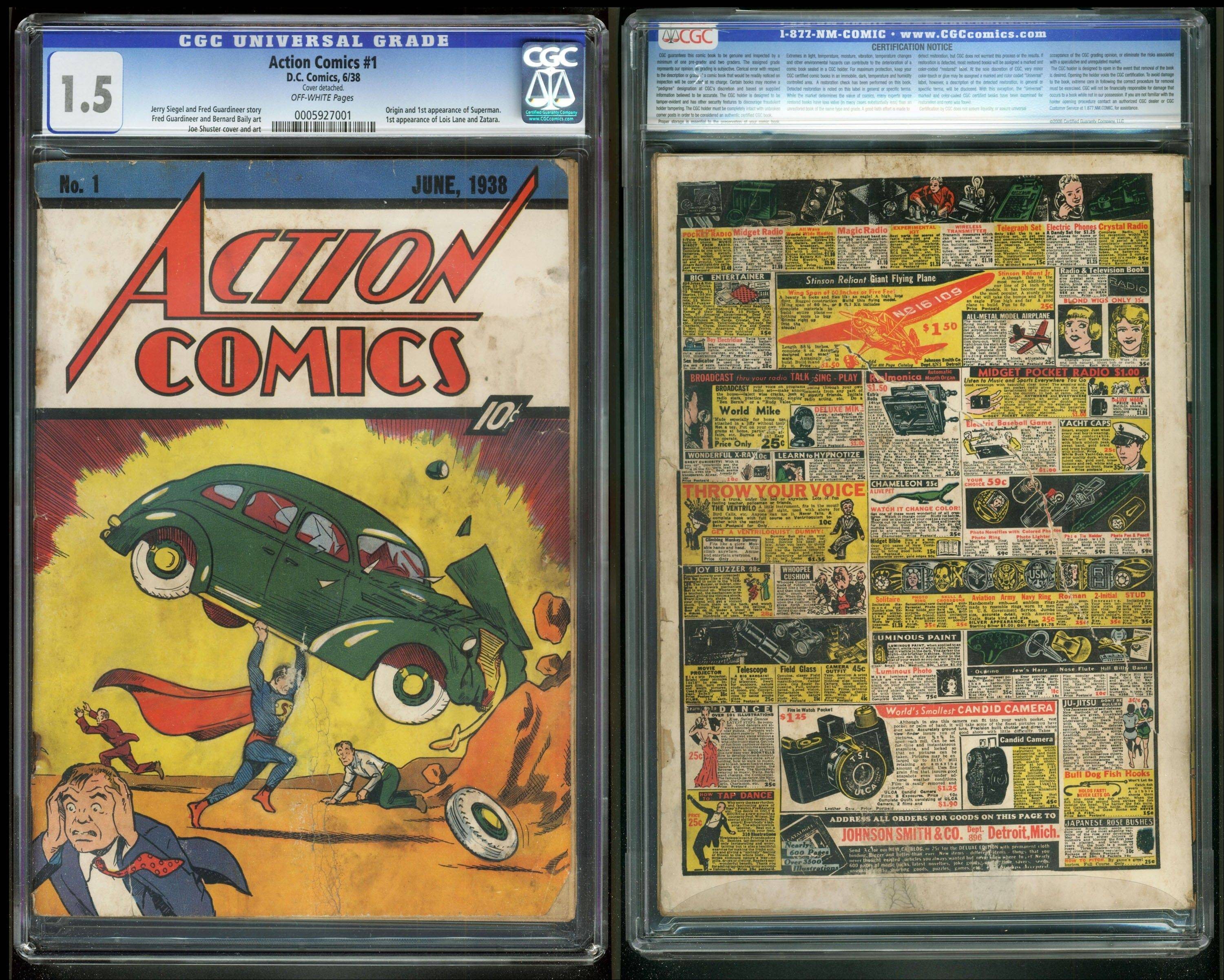 "The front and back cover of ""Action Comics No. 1"" from 1938, featuring the debut of Superman."