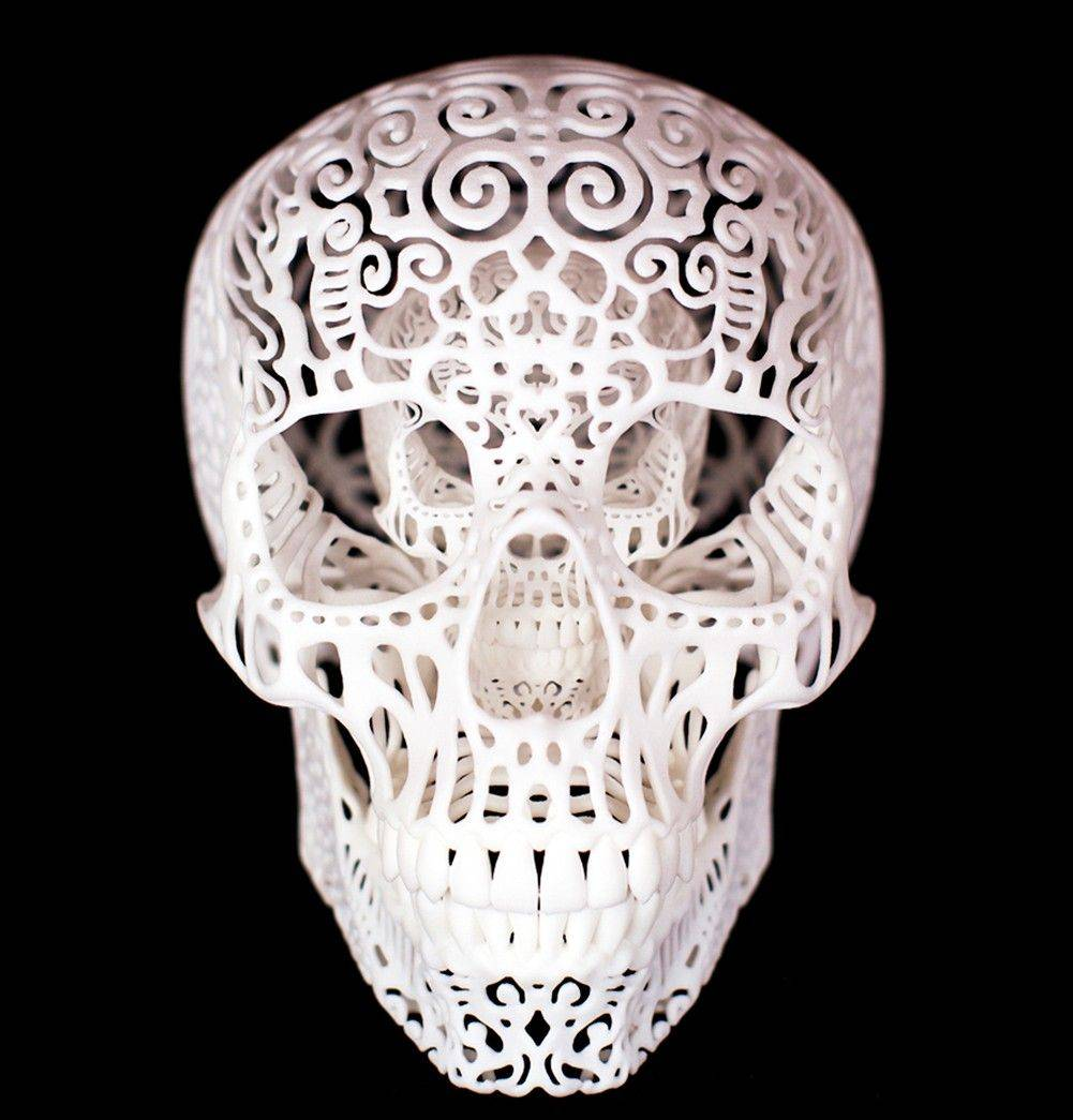 Chicago artist, Joshua Harker, 43, shows his design creation, Crania Anatomica Filigre. 3-D printing made it possible for Harker to sculpt his elaborate designs.