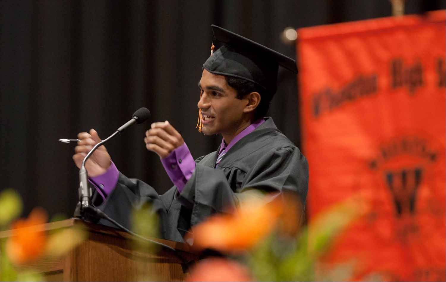 "Anand Poozhikunnel delivers the Wheaton Warrenville South High School Commencement address titled ""Heading North at the North Pole, during a ceremony at North Central College in Naperville."