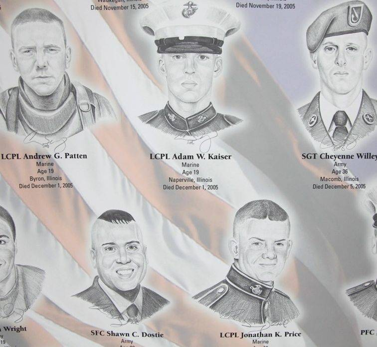 "These are among the images that make up the traveling exhibition ""Portrait of a Soldier"" commemorating Illinois service members killed since Sept. 11, 2001."