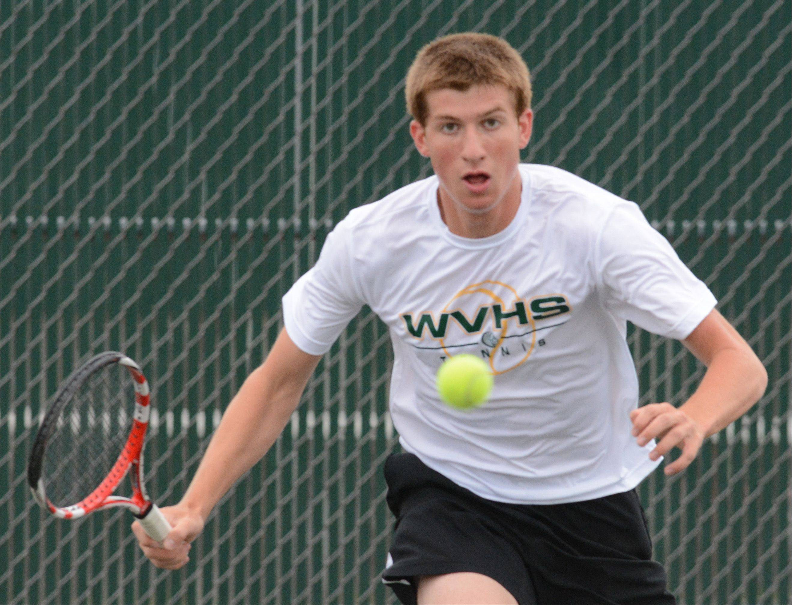 Eric Marbach of Waubonsie Valley competes at the boys tennis state tournament Saturday at Hersey.