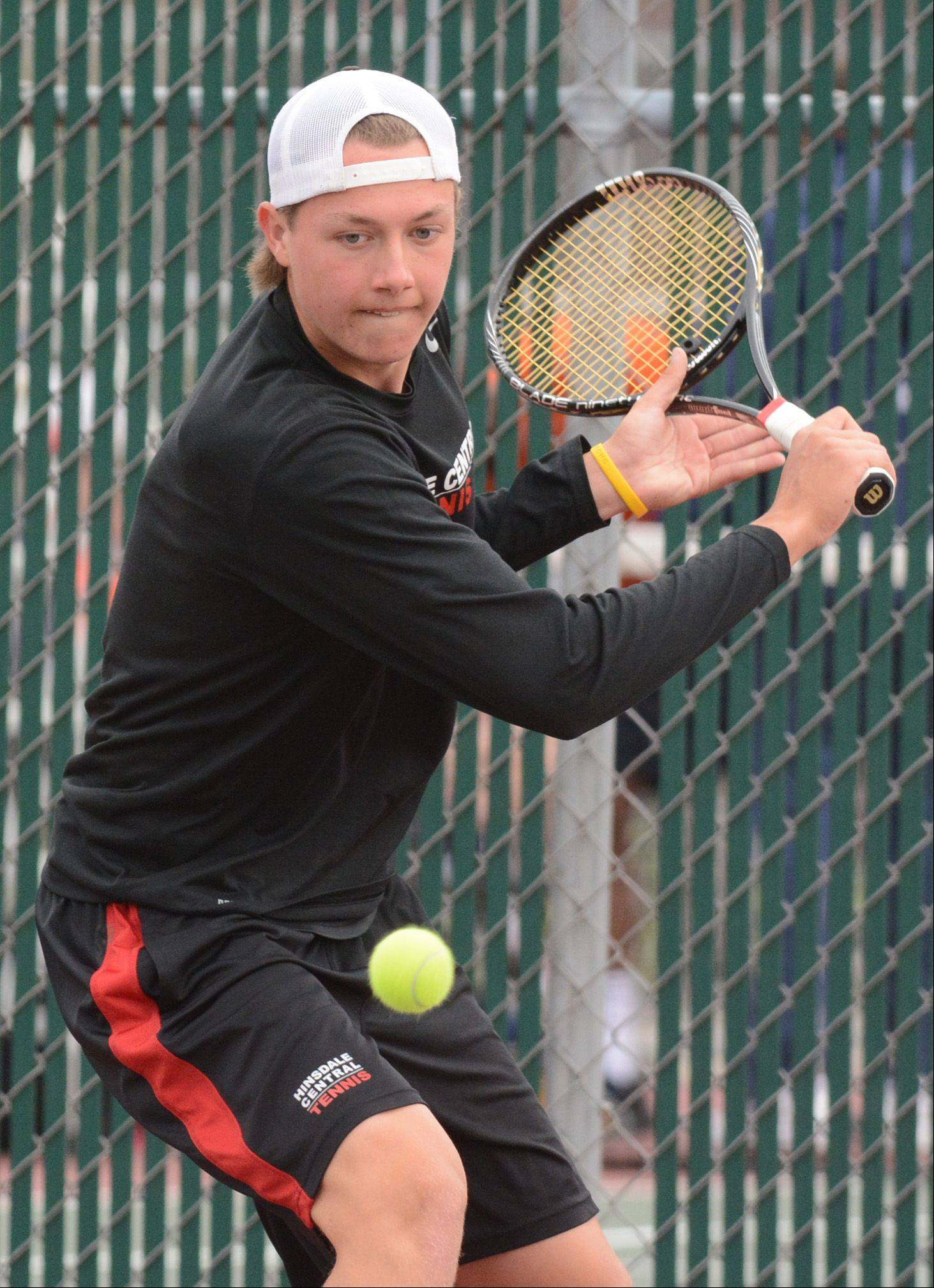Singles champion Martin Joyce of Hinsdale Central competes at the boys tennis state tournament Saturday at Hersey.