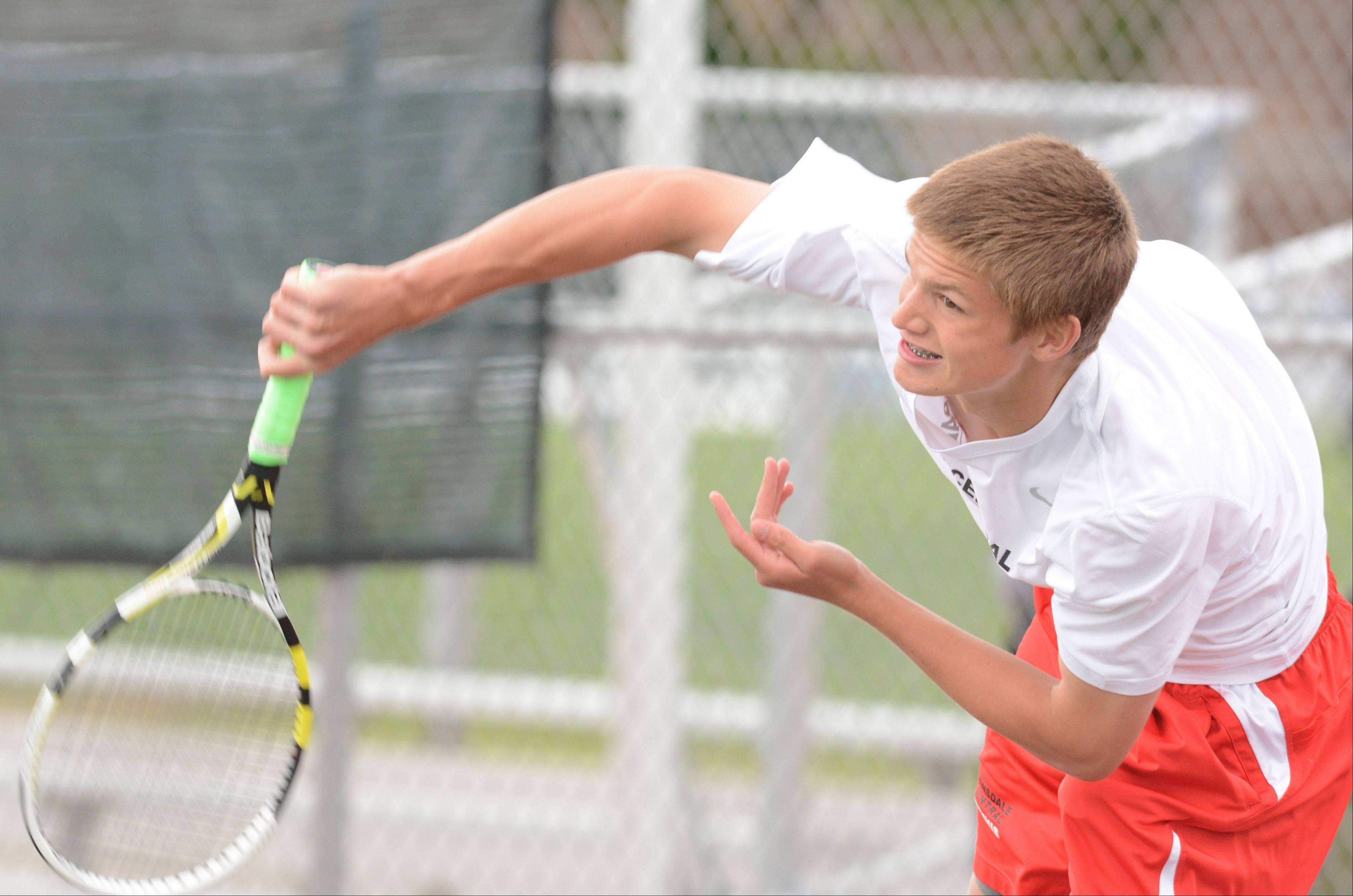 Michael Lorenzini of Hinsdale Central competes at the boys tennis state tournament Saturday at Hersey.