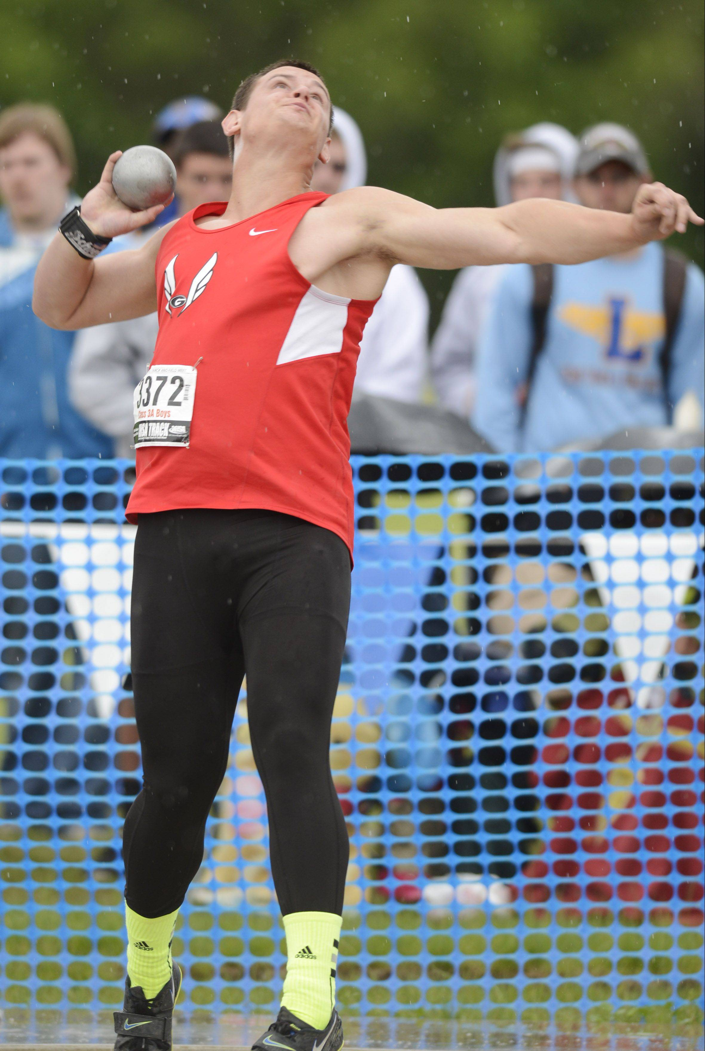 Grant's Brandon Lombardino throws in the Class 3A shot put finals. He won the discus.