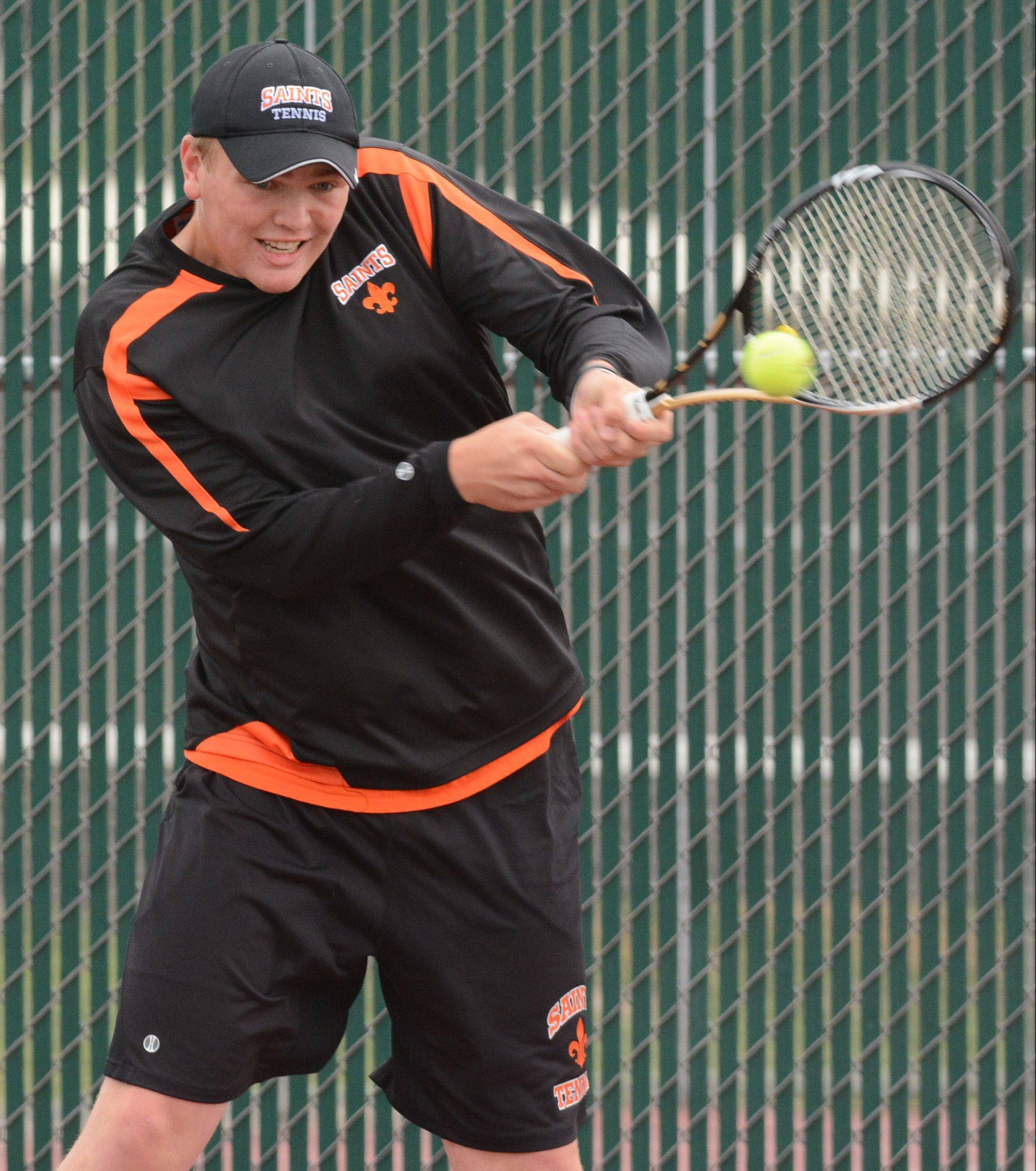 Dave Dvorak/ddvorak@dailyherald.comJasper Koenen of St. Charles East competes at the state boys tennis tournament Saturday