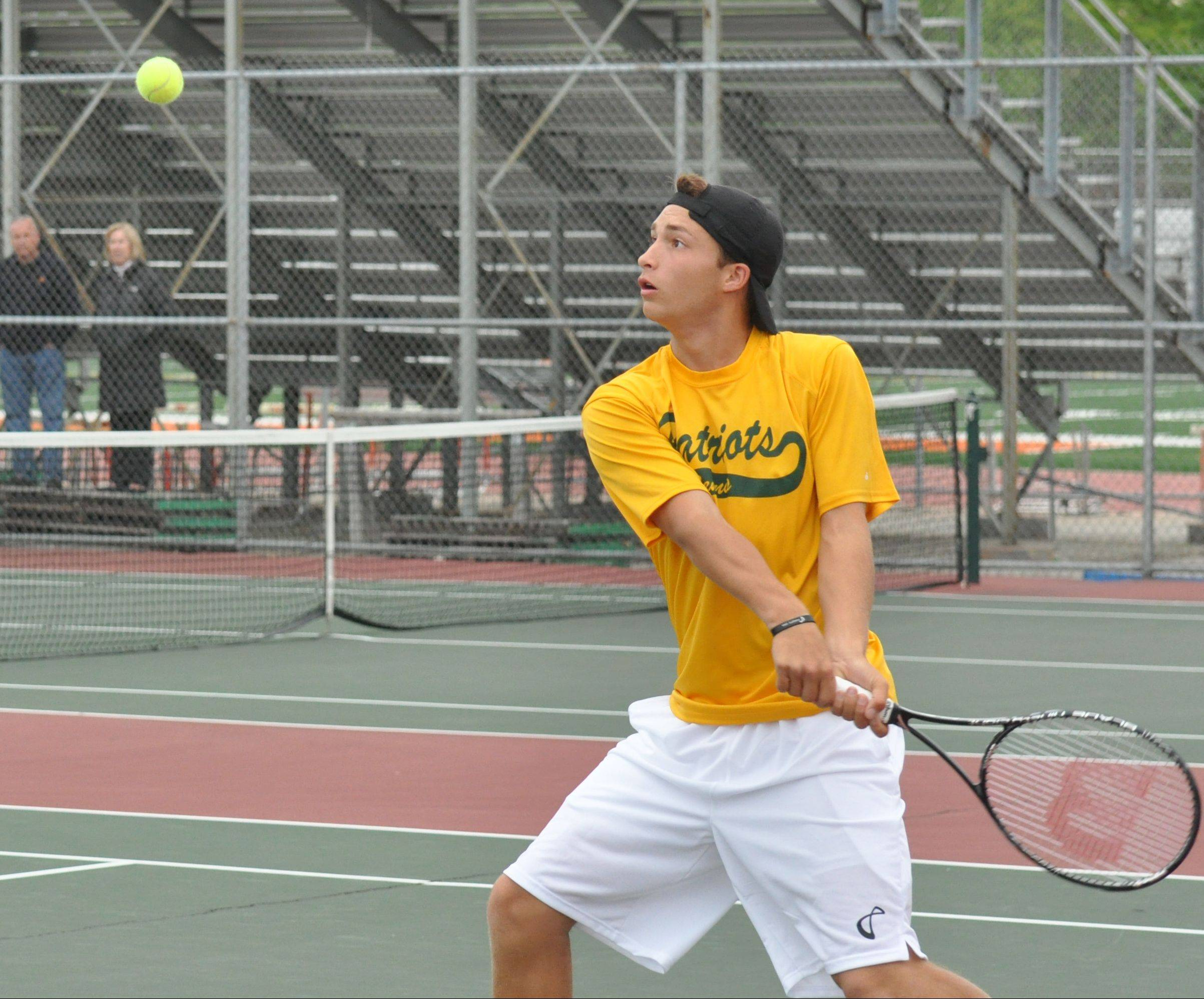 Colin Harvey of Stevenson competes at the boys tennis state tournament Saturday at Hersey.