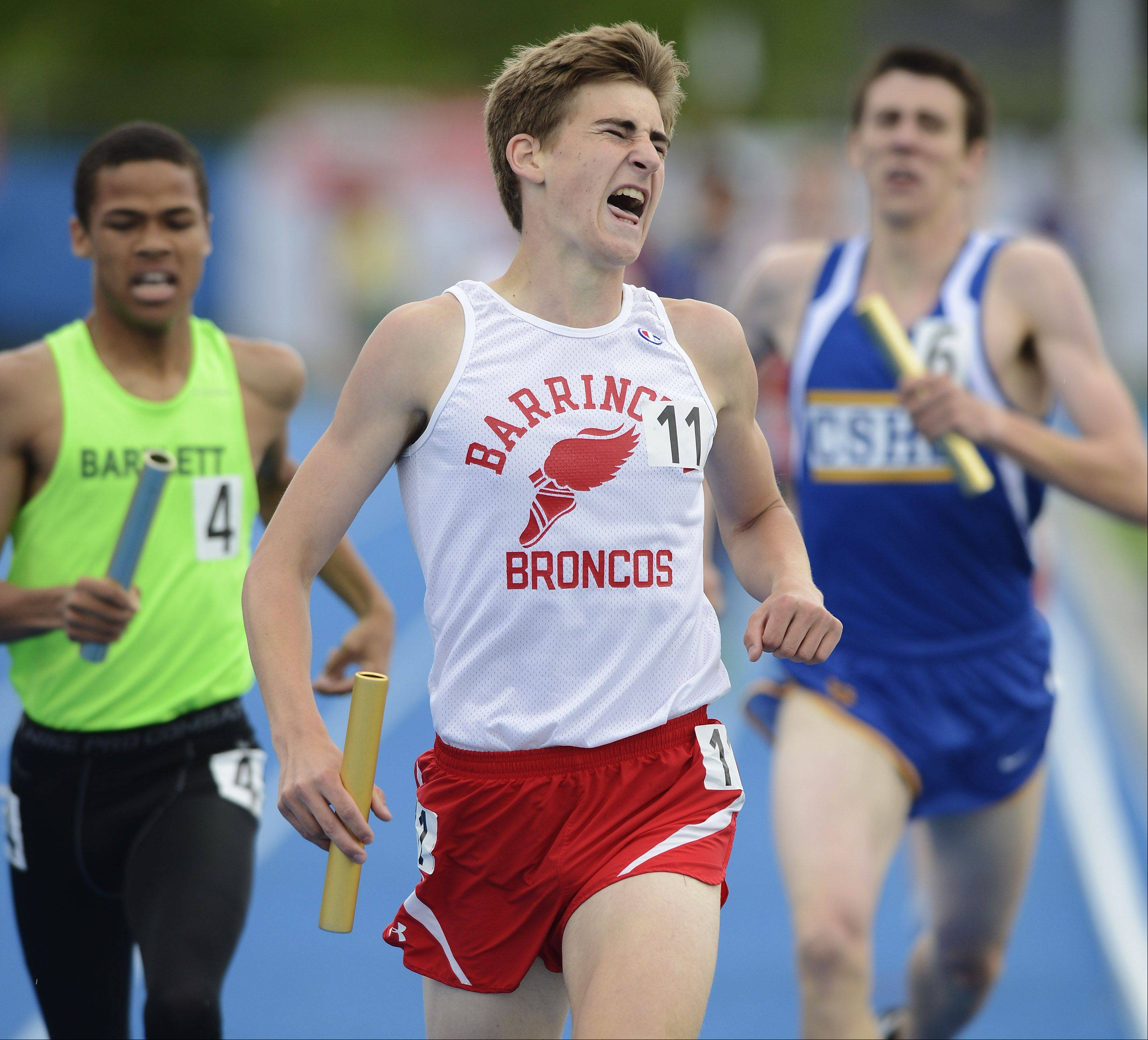 Barrington's Konrad Eiring crosses the finish line as the Brocos win the Class 3A 4x800-meter relay during the boys state track finals in Charleston Saturday.